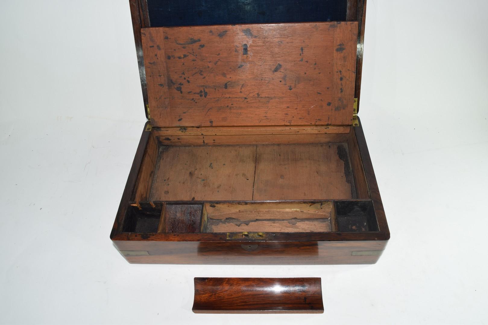 Late 19th century hardwood writing box - Image 6 of 6