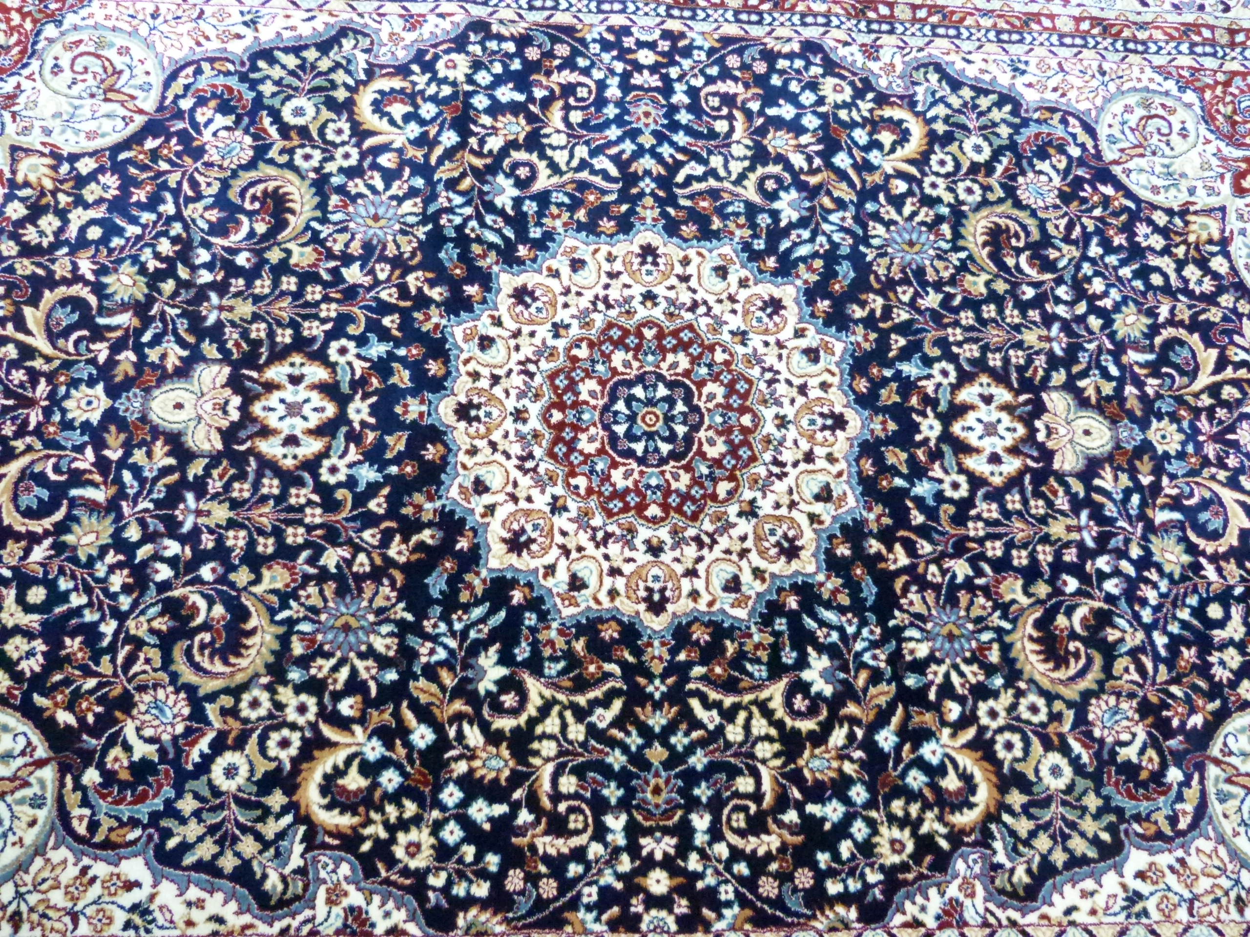 Rich blue ground full pile Turkish Carpet, with floral medallion design 320cm x 200cm approximately - Image 4 of 8