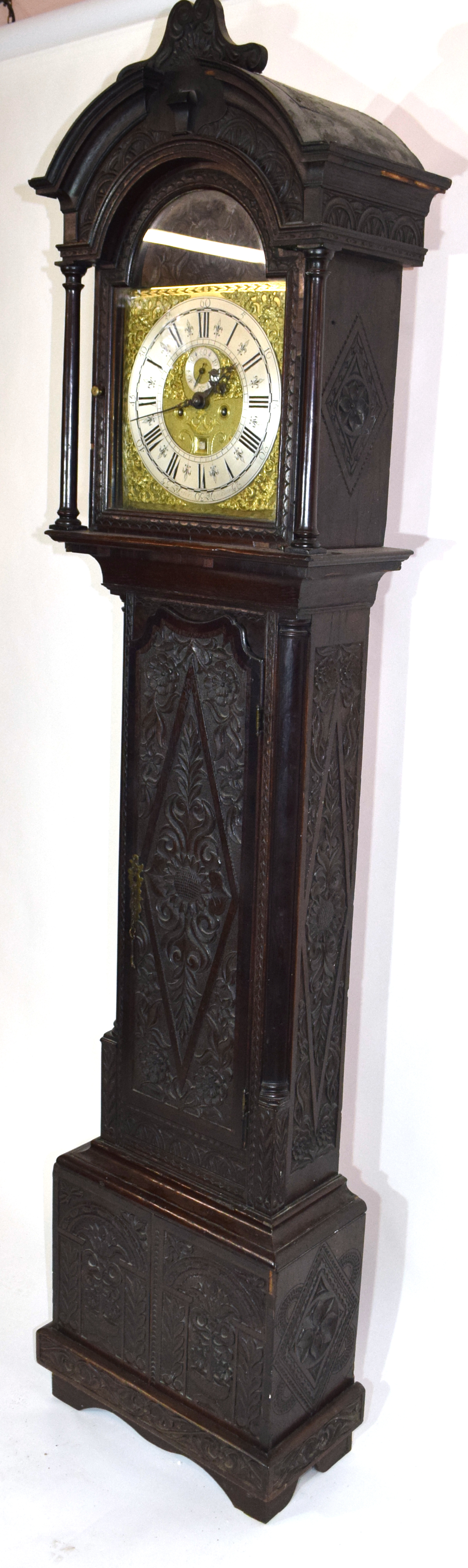Ornately carved longcase clock, with gilt dial mounted with Roman chapter ring, subsidiary minutes - Image 4 of 7