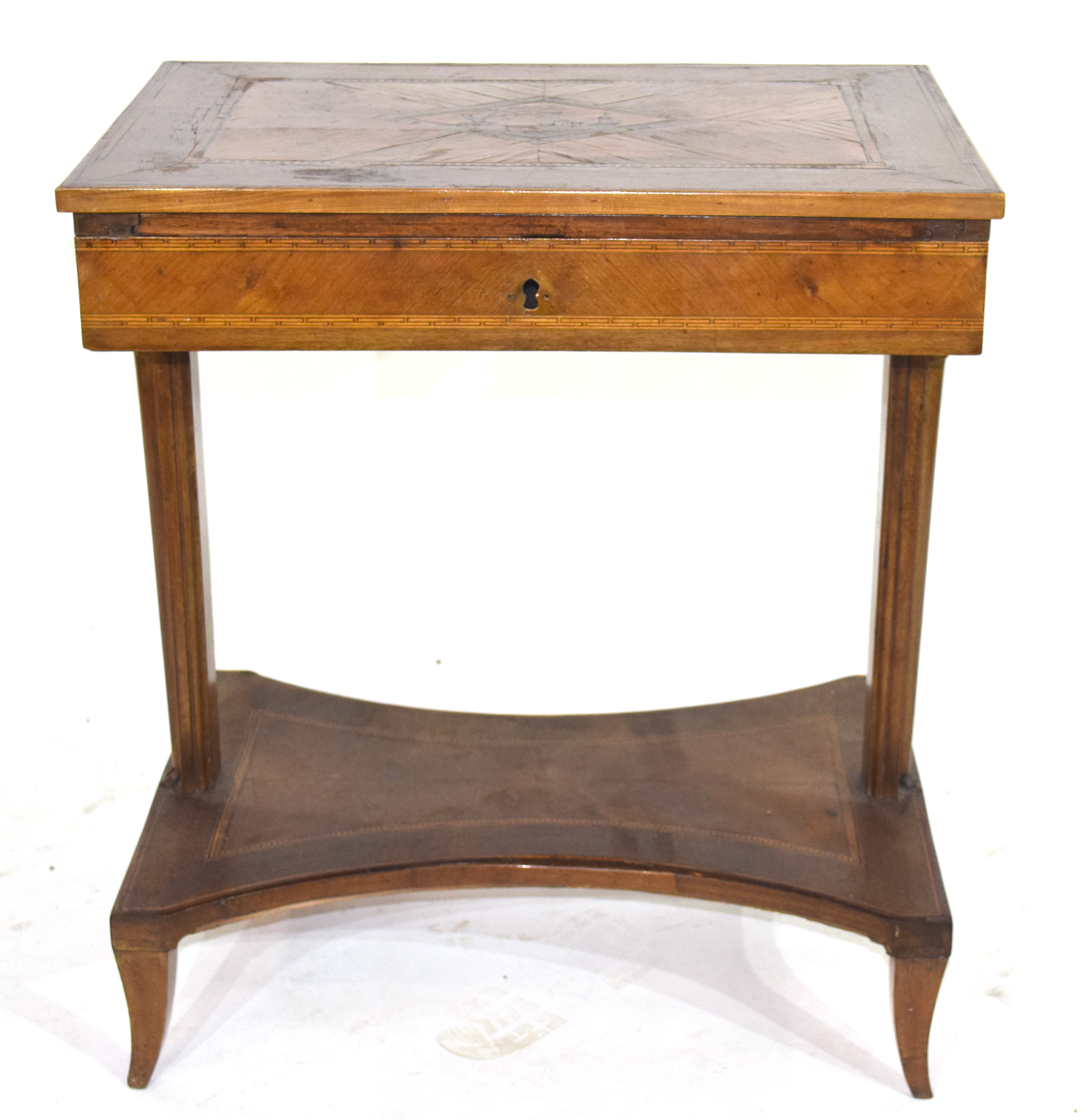 19th century Continental metamorphic desk or work table, the inlaid sliding top opening to reveal