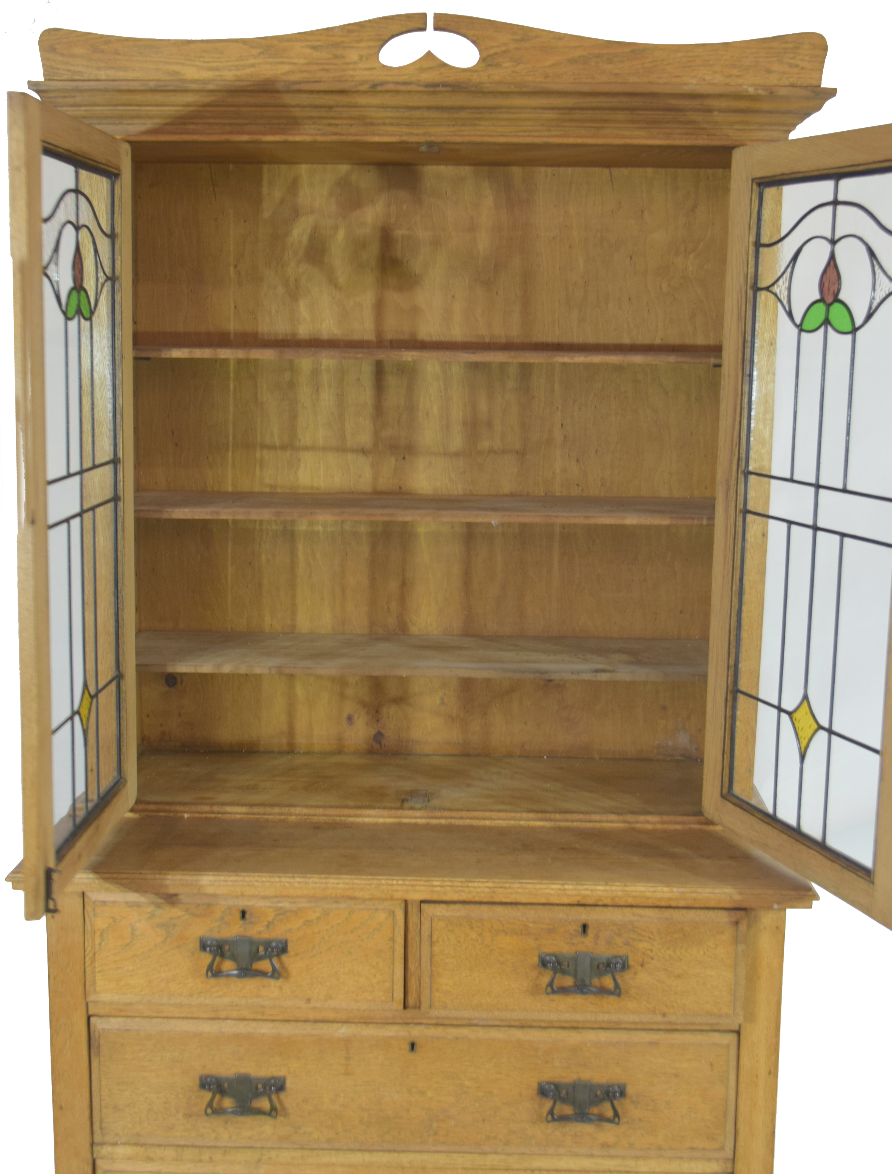 Late 19th century light oak two-piece cabinet, the top section with double glazed doors with Art - Image 2 of 7