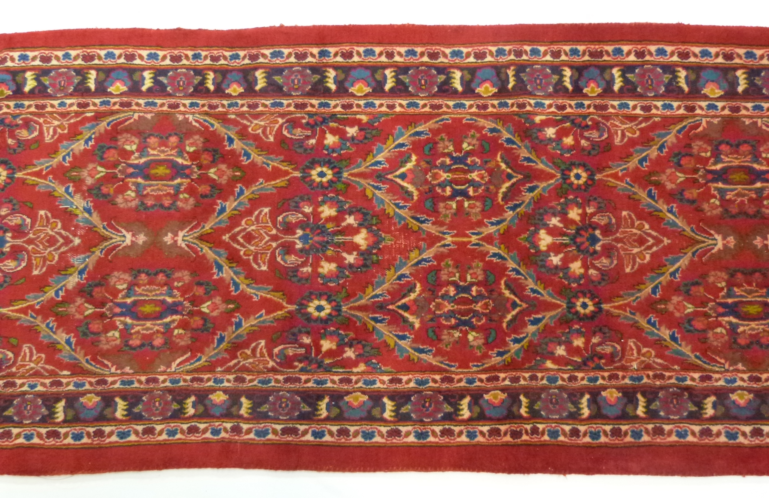 Large red ground Persian Kashan Runner, with all-over floral pattern 397cm x 93cm approximately No - Image 3 of 6