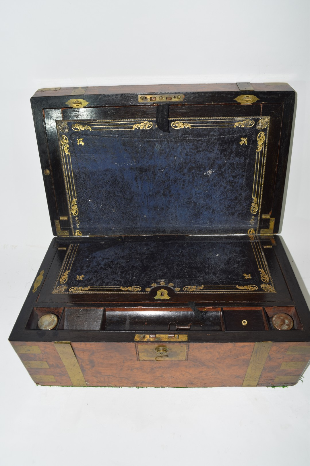 Victorian walnut veneered and brass mounted writing box
