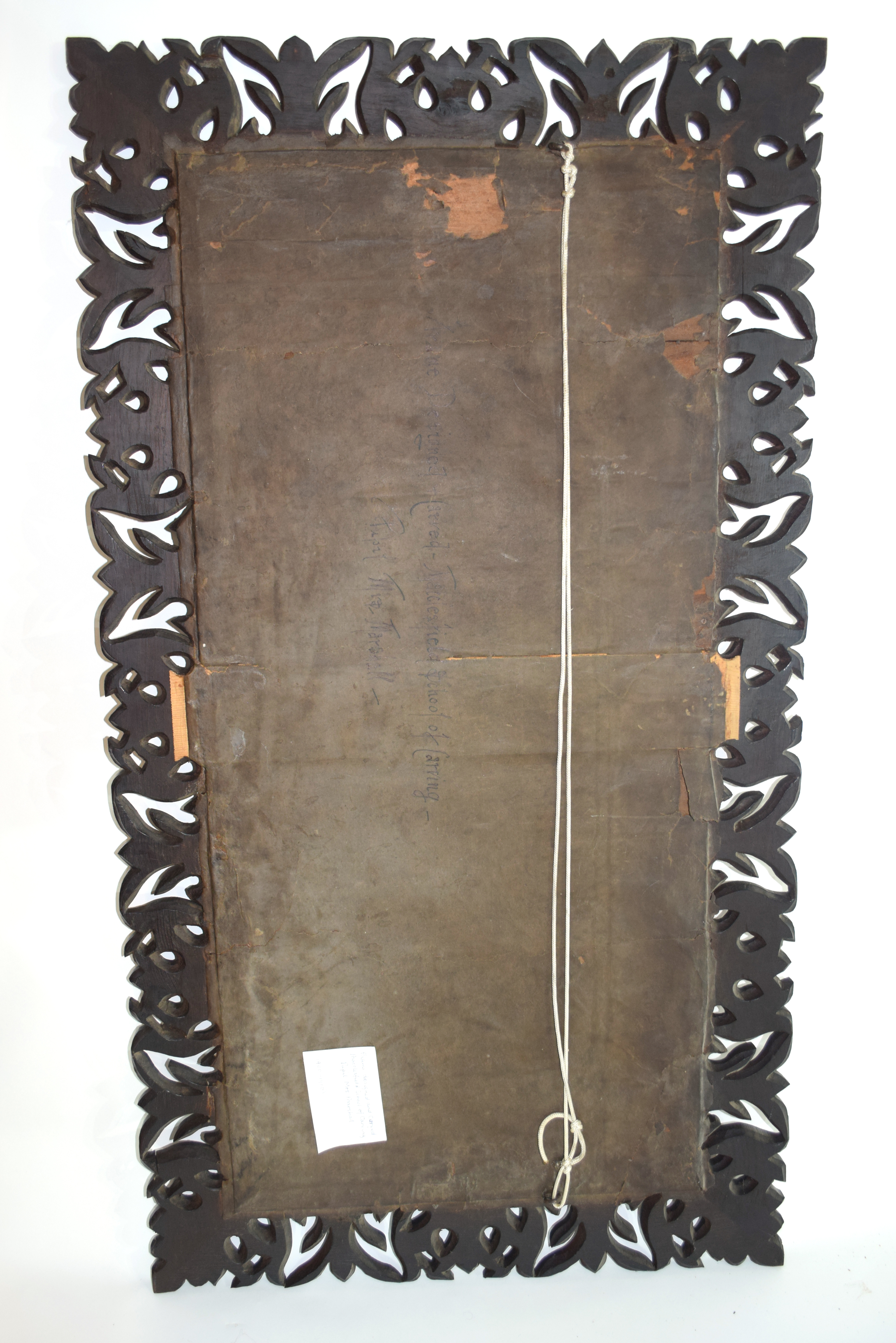 Early 20th century bevelled wall mirror set in a foliate carved frame, inscription to the reverse, - Image 2 of 4