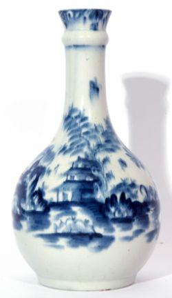 Lowestoft porcelain guglet or water bottle