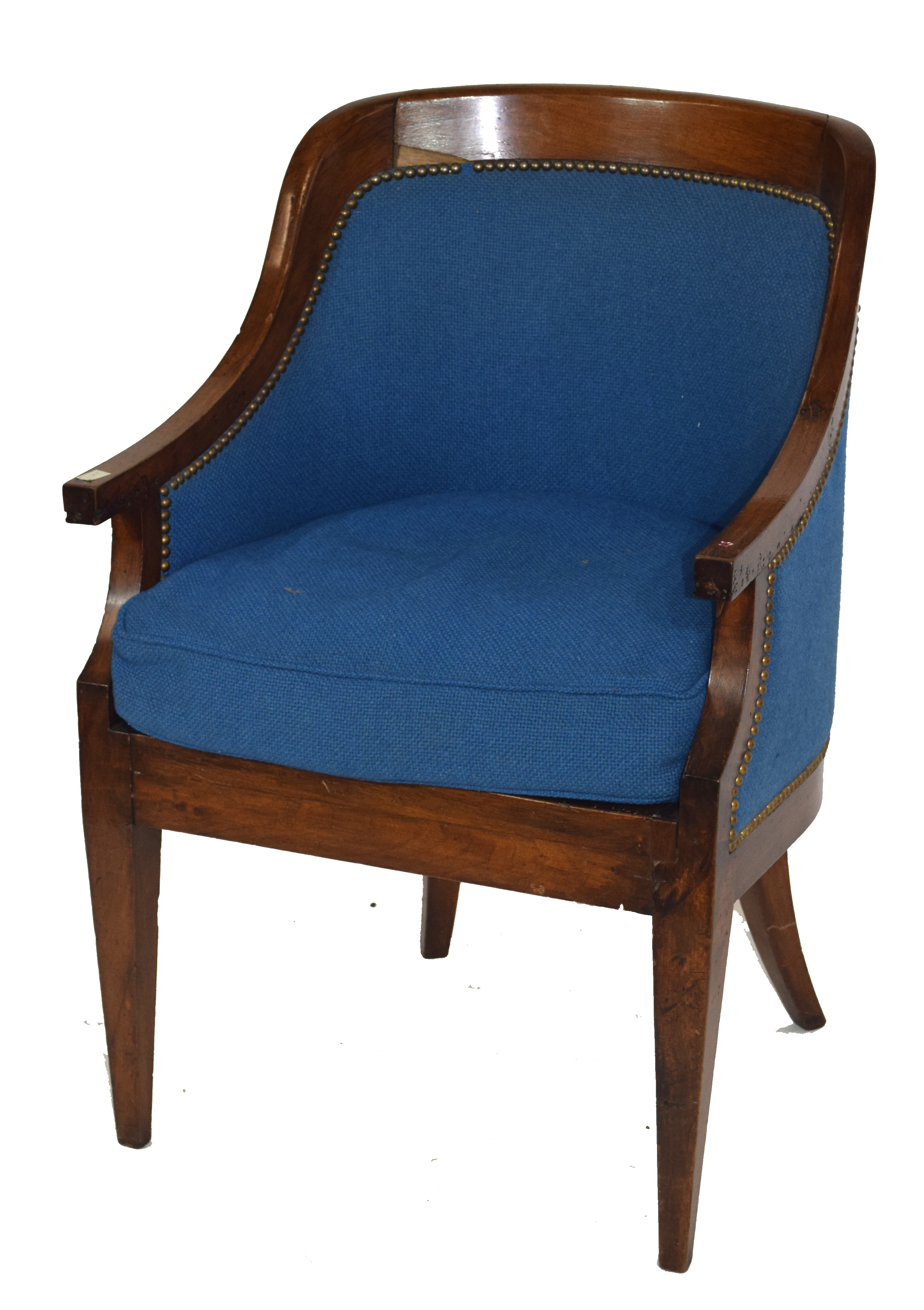 Late 19th/early 20th century mahogany framed tub chair with blue upholstery, 58cm wide Condition: - Image 2 of 5