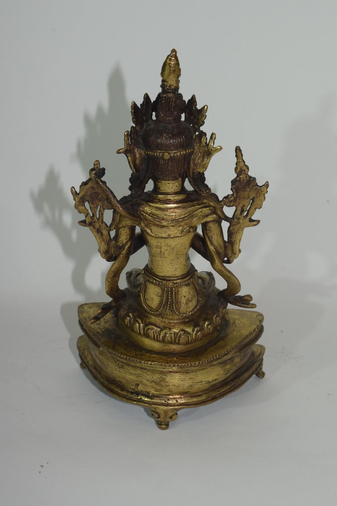 Rare Sino-Tibetan gilt bronze figure of Maitreya - Image 5 of 8