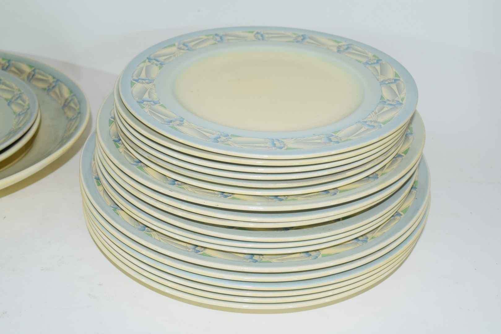 Clarice Cliff Newport pottery part dinner service comprising, two vegetable tureens, two oval meat - Image 2 of 4