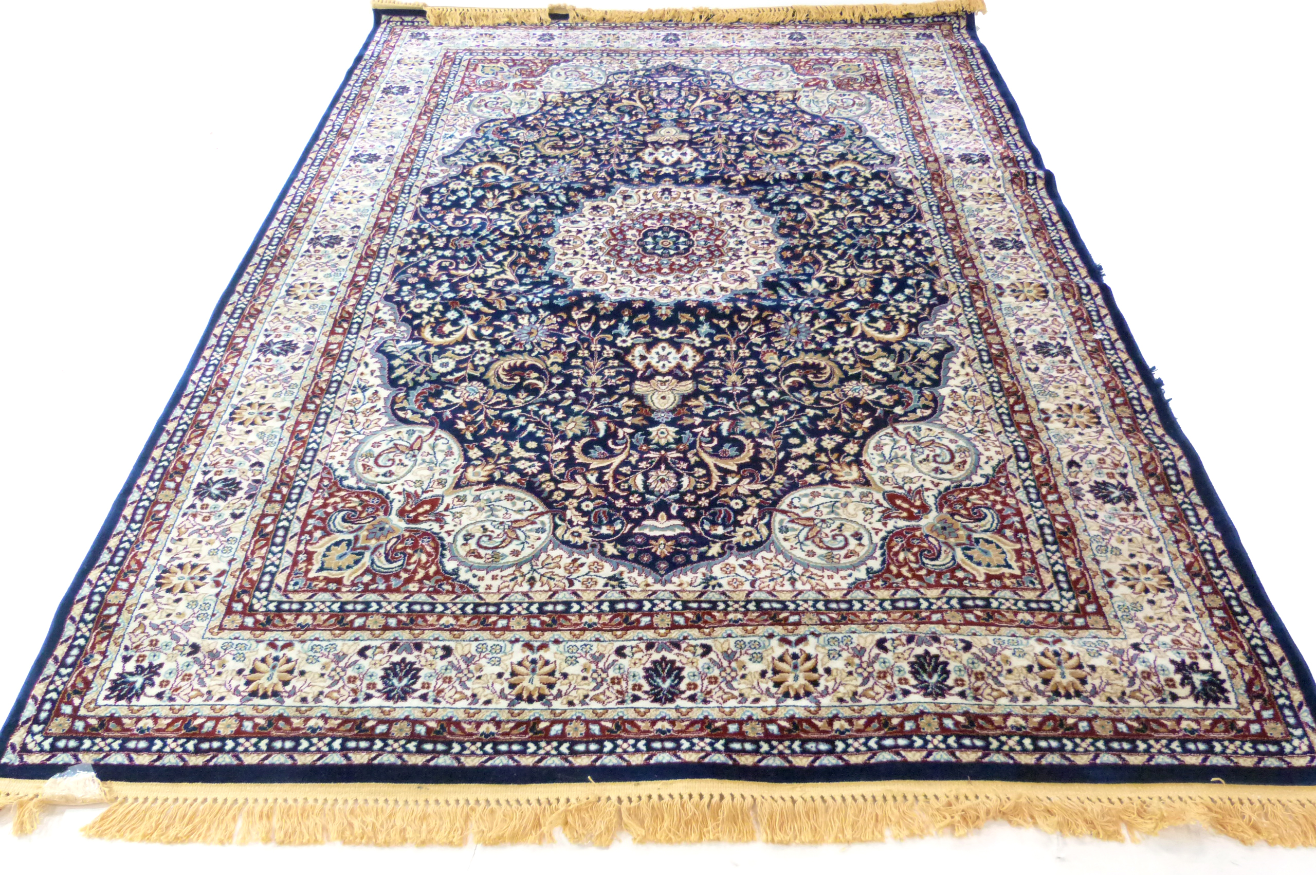 Rich blue ground full pile Turkish Carpet, with floral medallion design 320cm x 200cm approximately - Image 2 of 8