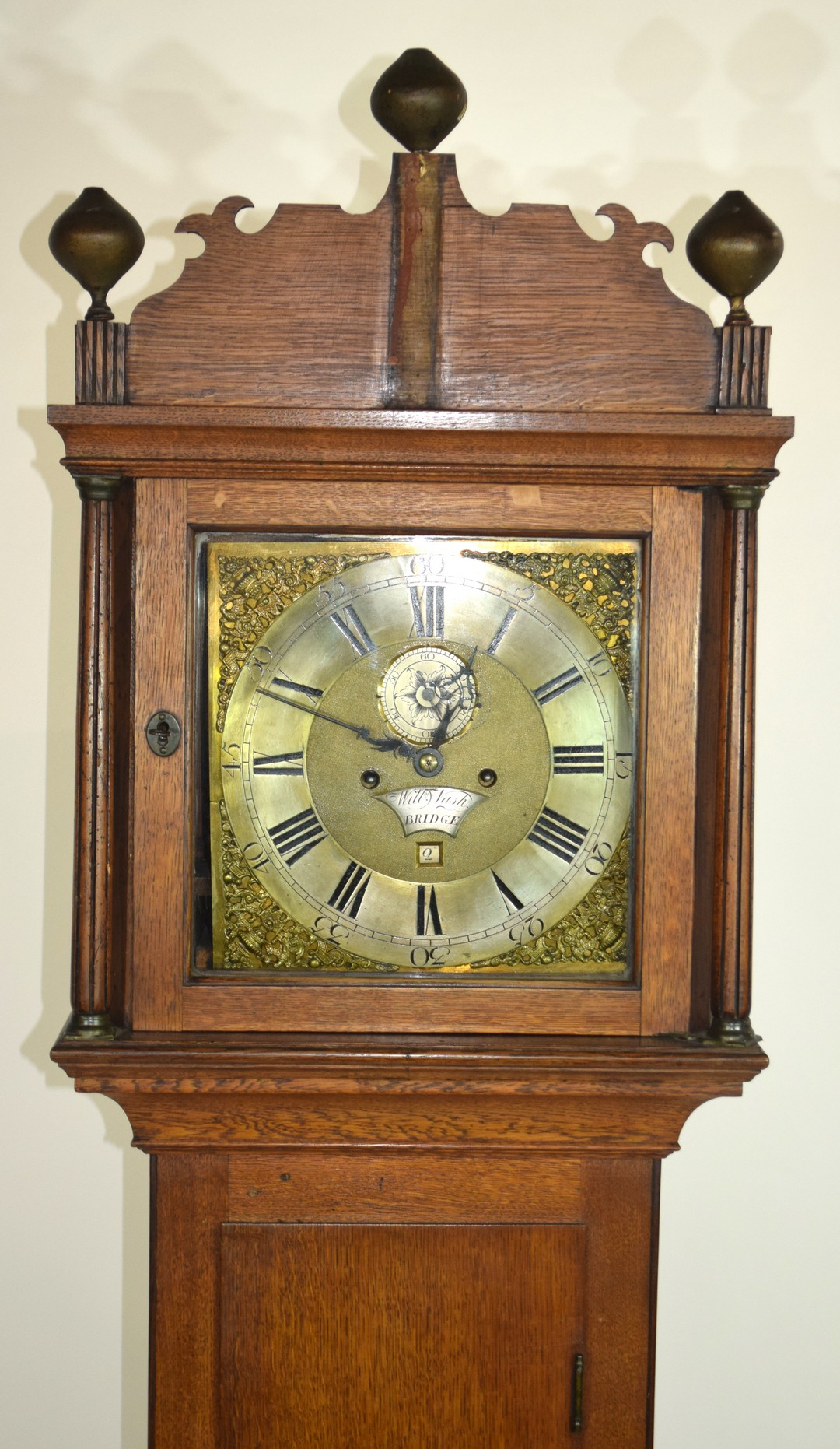 William Nash, Bridge, (Kent) 18th century oak cased longcase clock, the brass and silvered face with - Image 2 of 4