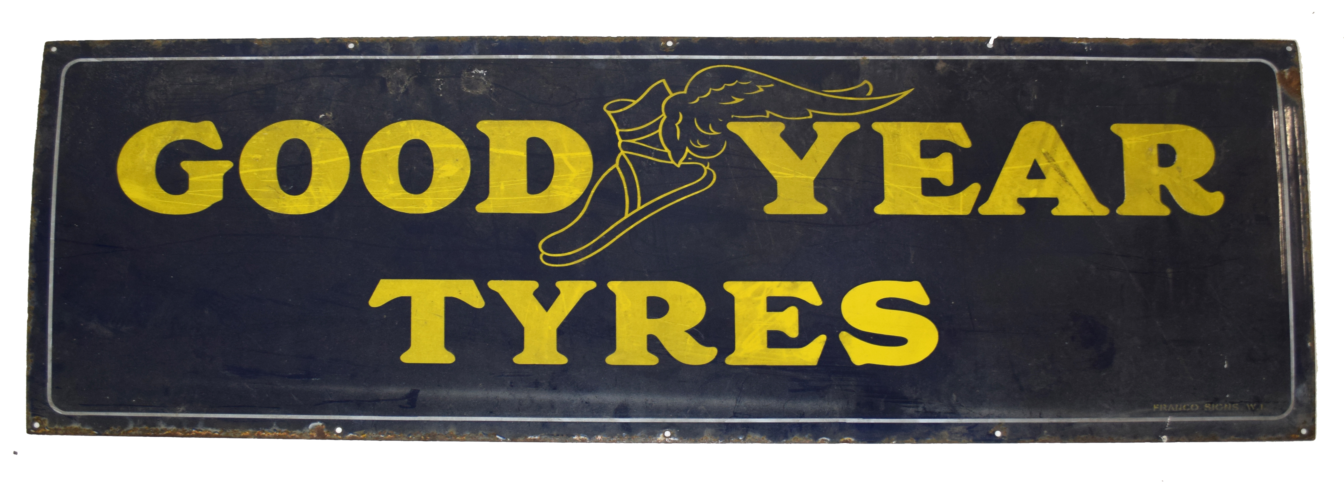 Vintage enamel advertising sign for Goodyear Tyres, yellow lettering on a blue background 153cm