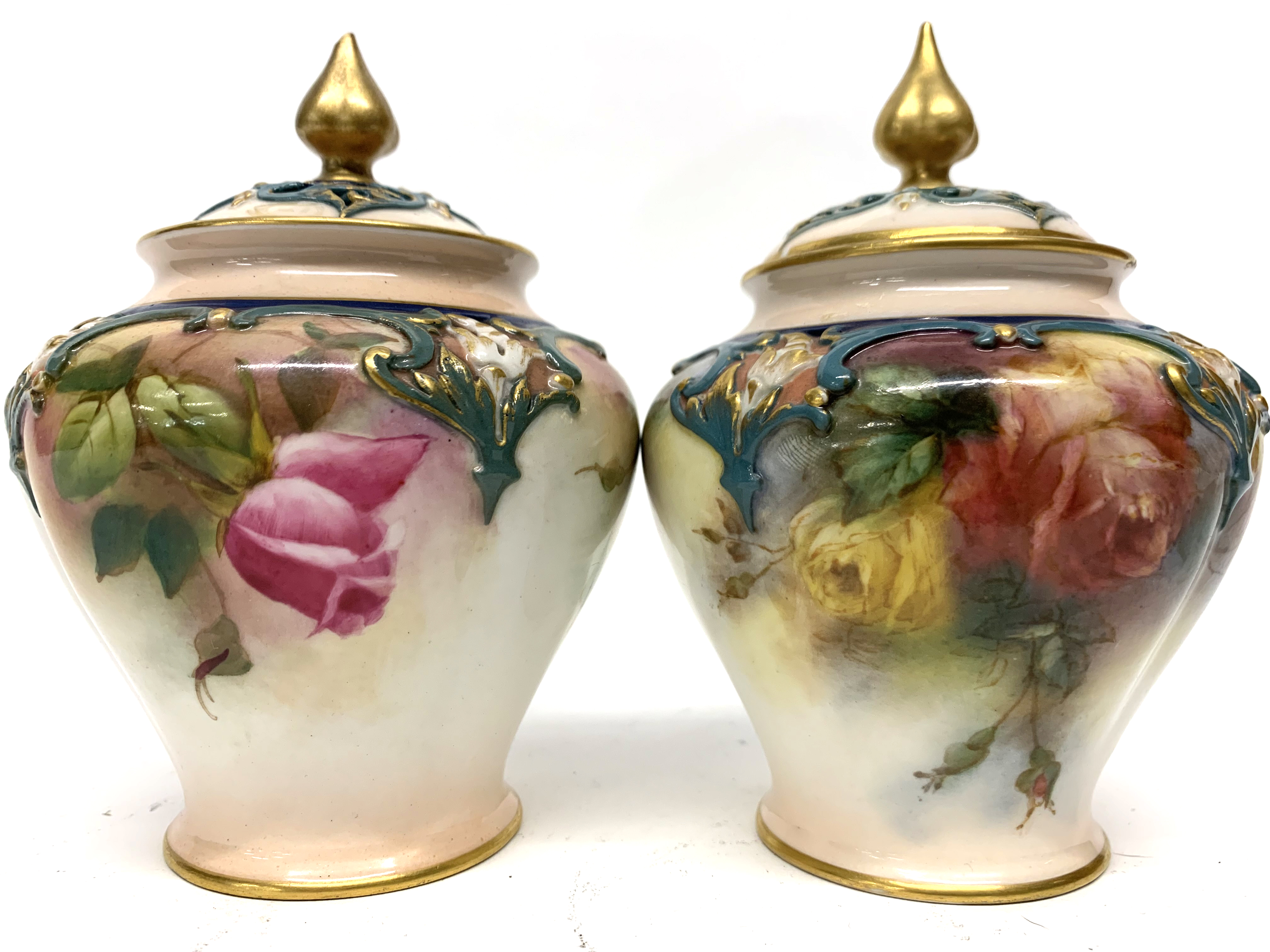 Pair of late 19th century Hadleigh Worcester vases a