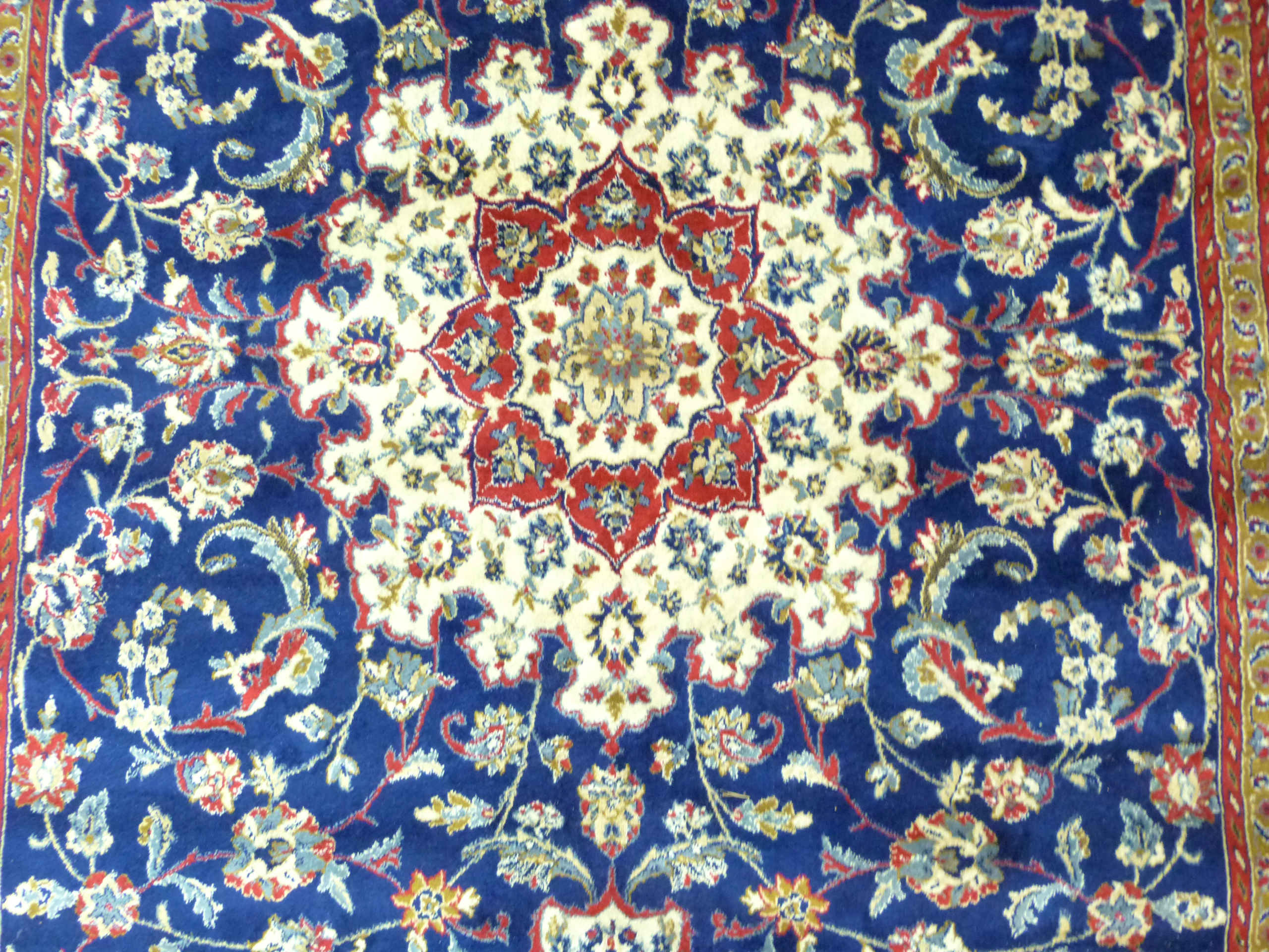 Rich blue ground full pile Kashmir Charbass medallion design 240cm x 156cm - Image 3 of 6