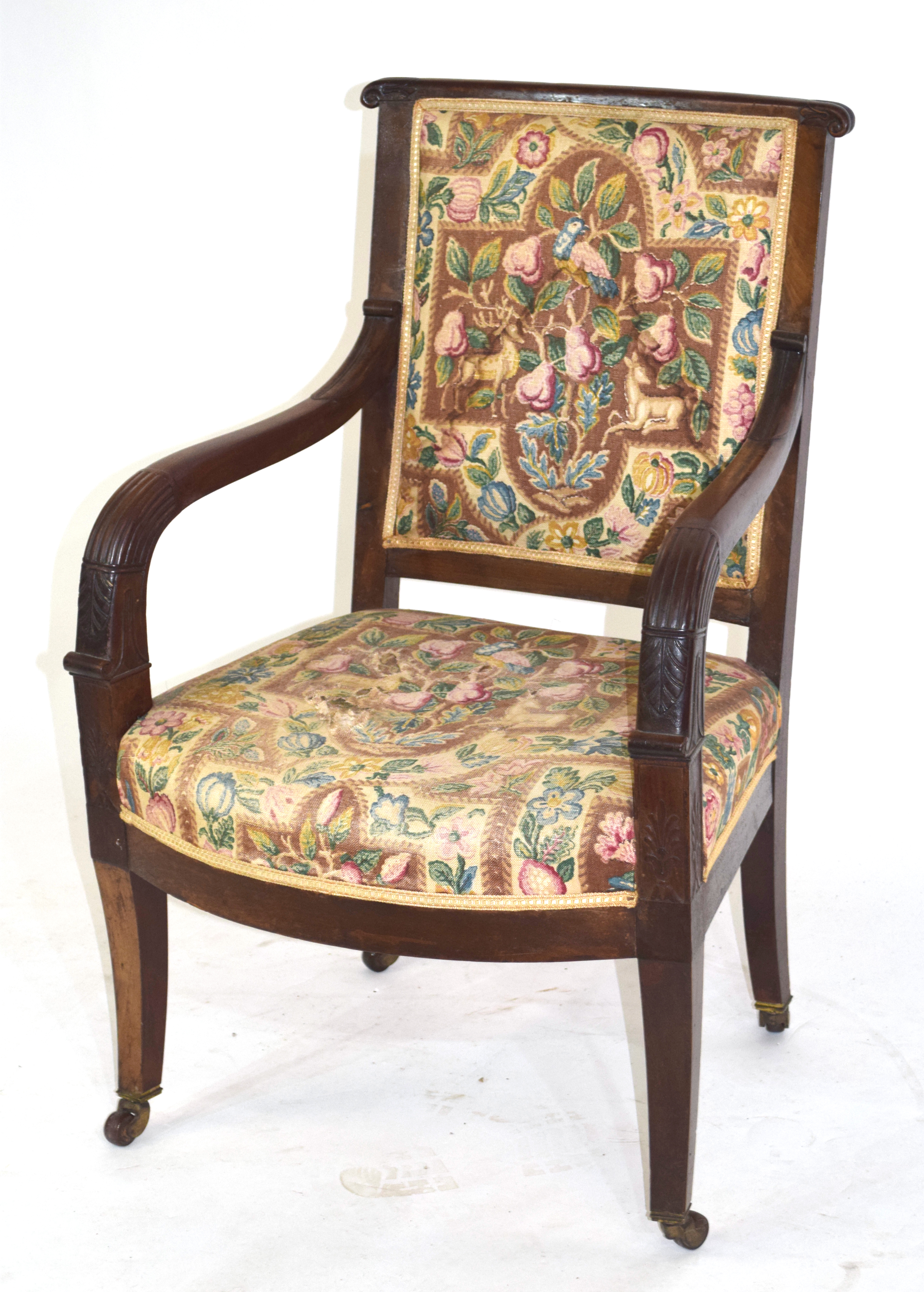 19th century mahogany framed armchair with tapering legs raised on casters, 92cm high Condition: - Image 2 of 4