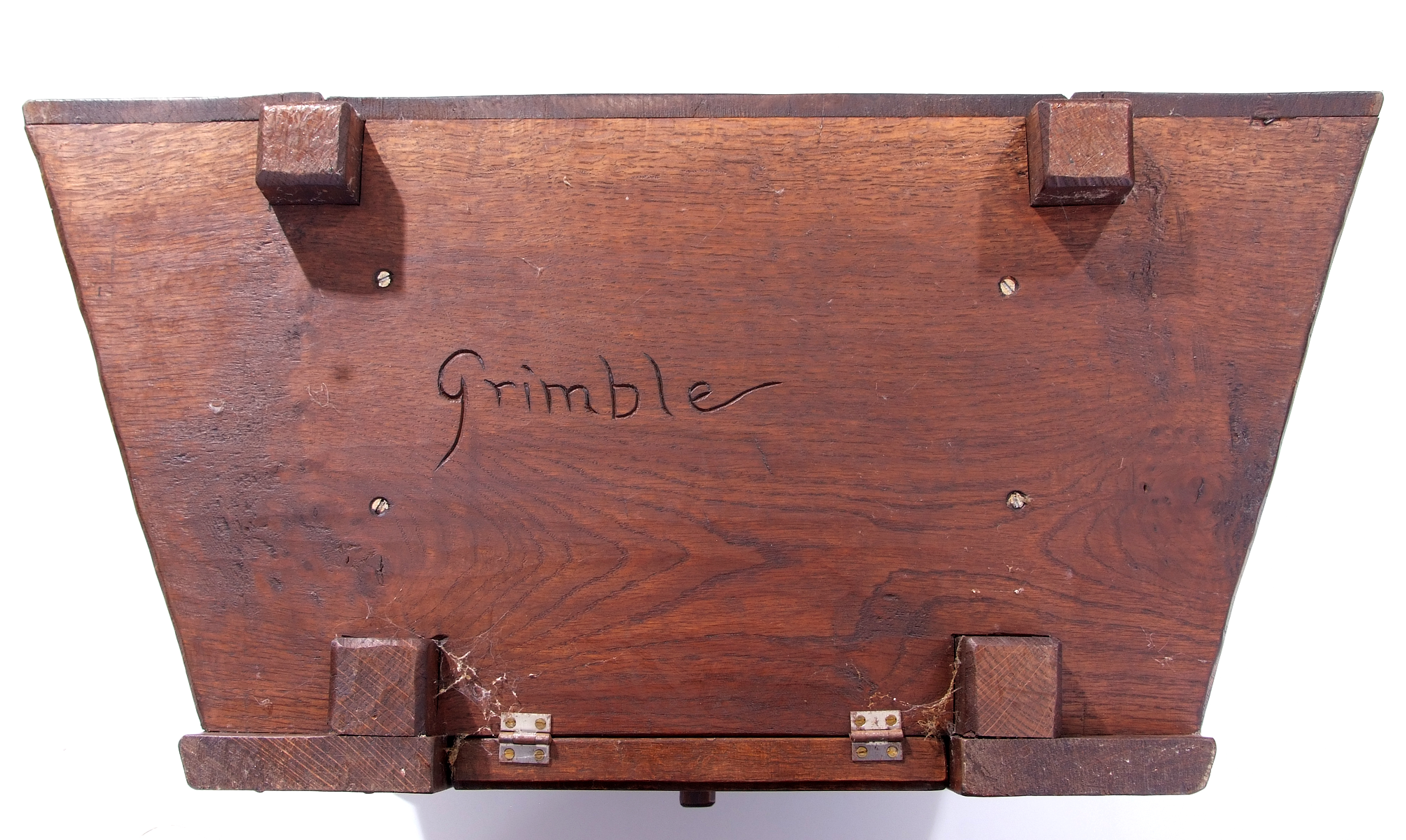 Jack Grimble of Cromer, a small oak losenge shaped side table with carved Tudor Rose detail 76cm - Image 3 of 10