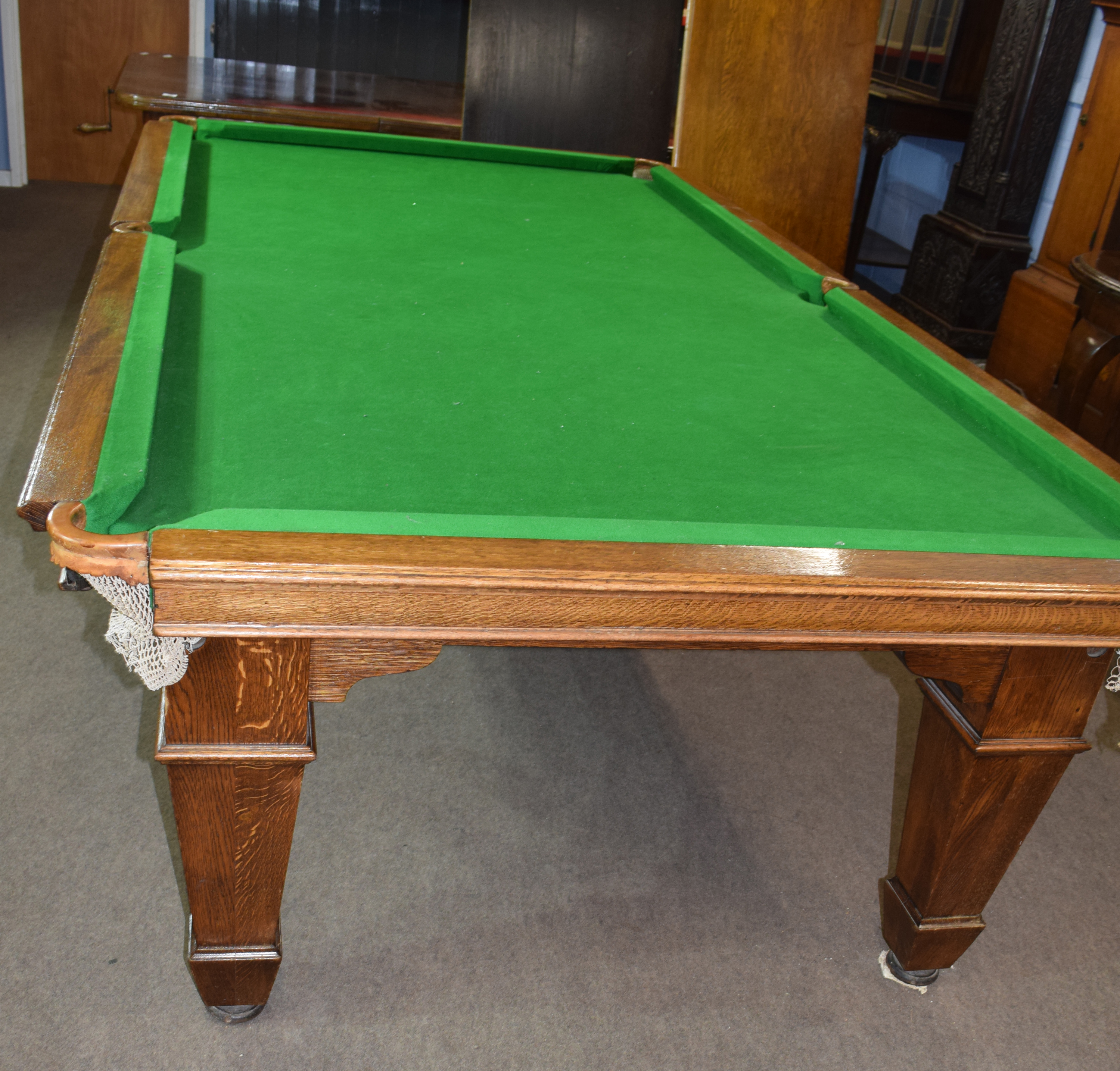 Oak frame and slate bed, quarter size snooker table with leaves adapting it to a dining table - Image 6 of 6
