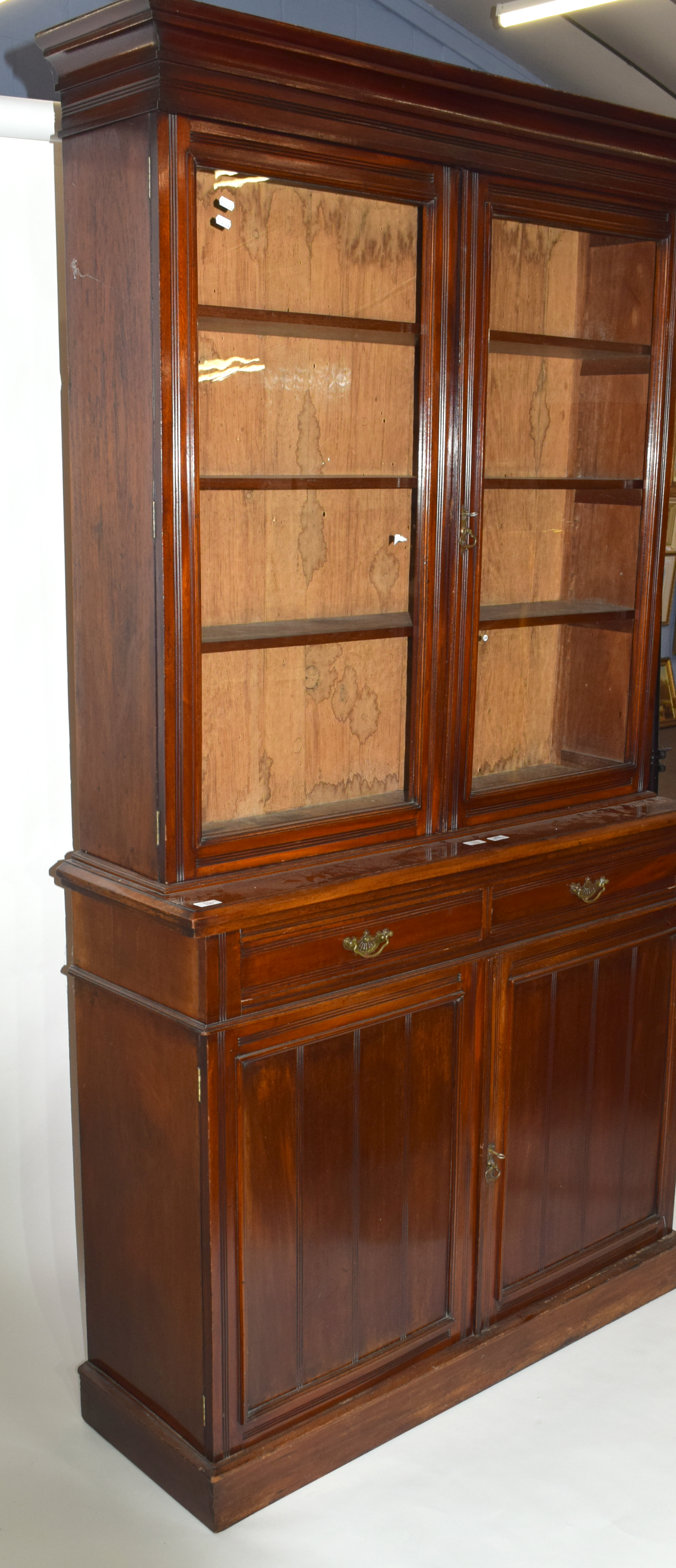 Full height mahogany side cabinet with glazed bookcase raised over double cupboard, width approx - Image 5 of 6