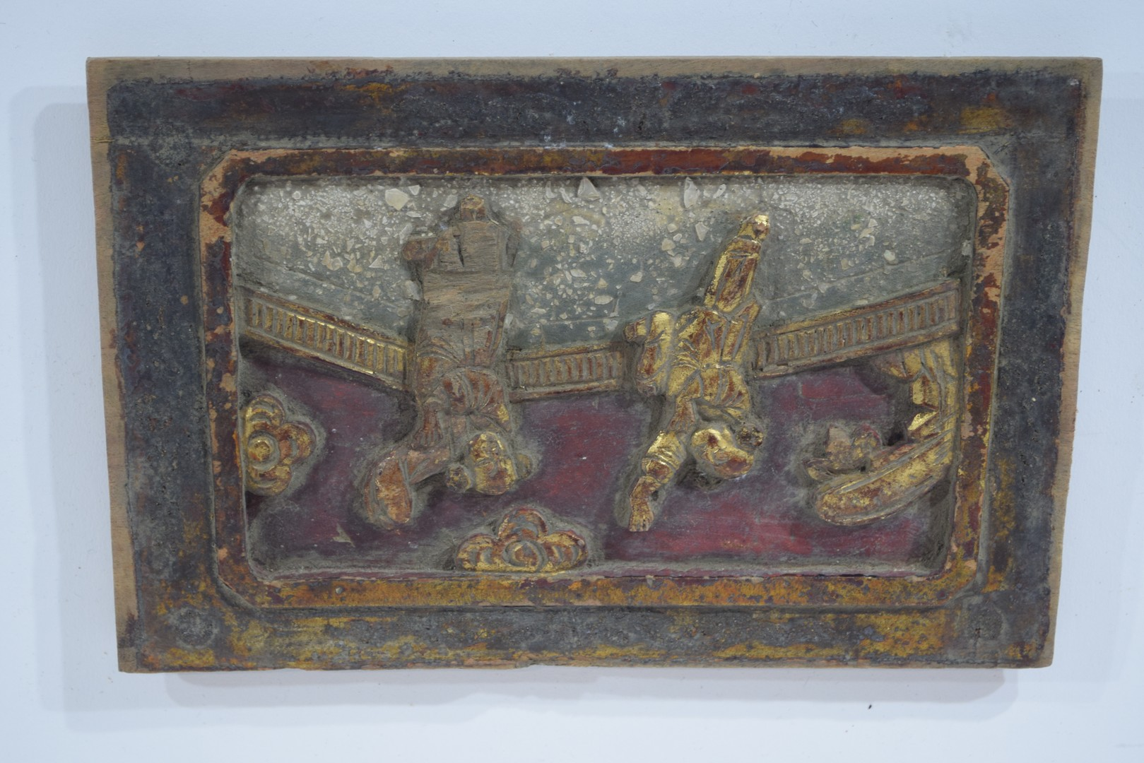 Group of seven Oriental wooden panels - Image 13 of 16
