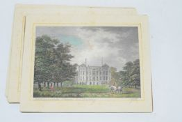 Group of four cards with coloured prints of stately homes