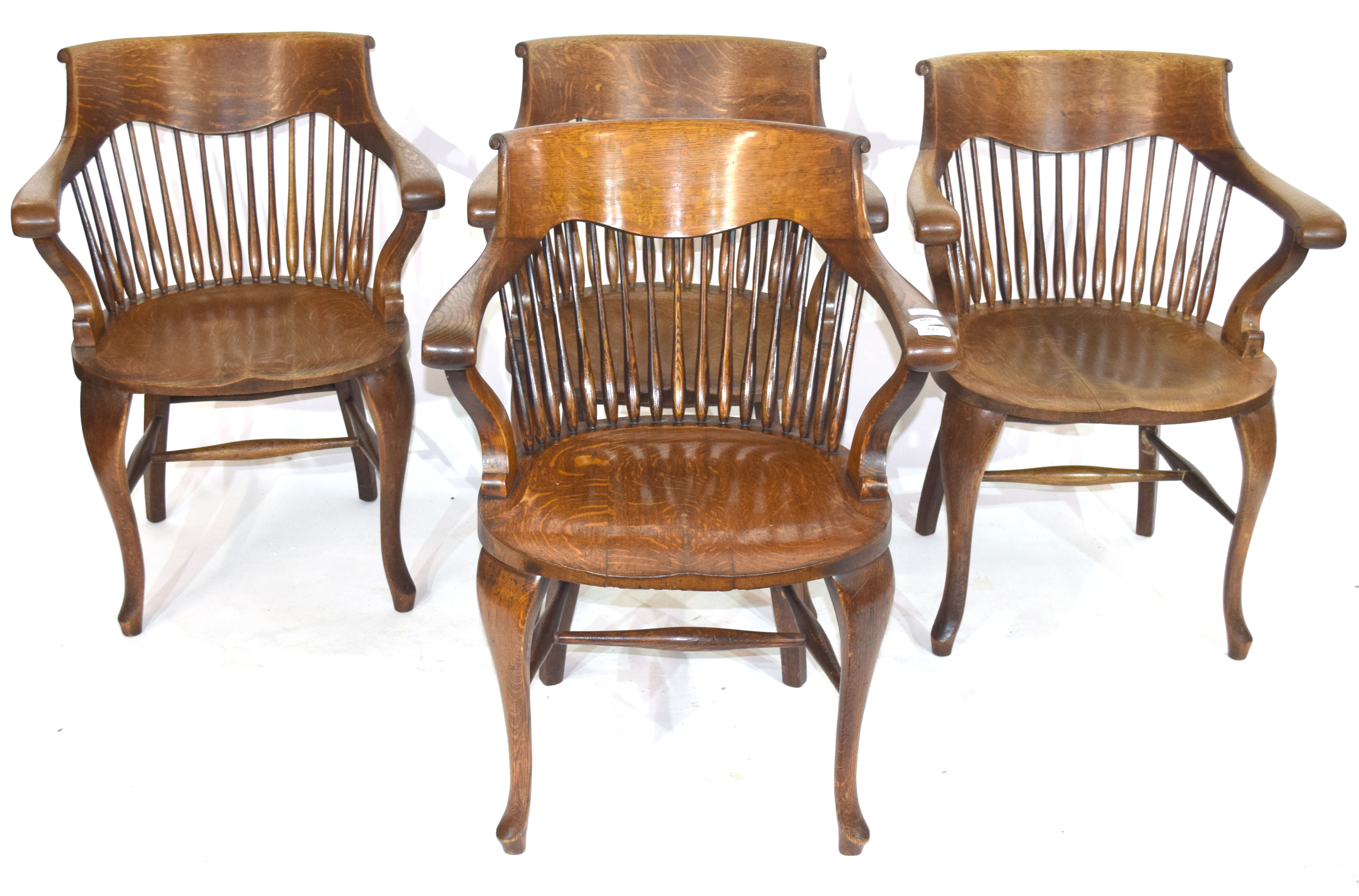 Set of four late 19th century North country oak bow and spindle back chairs