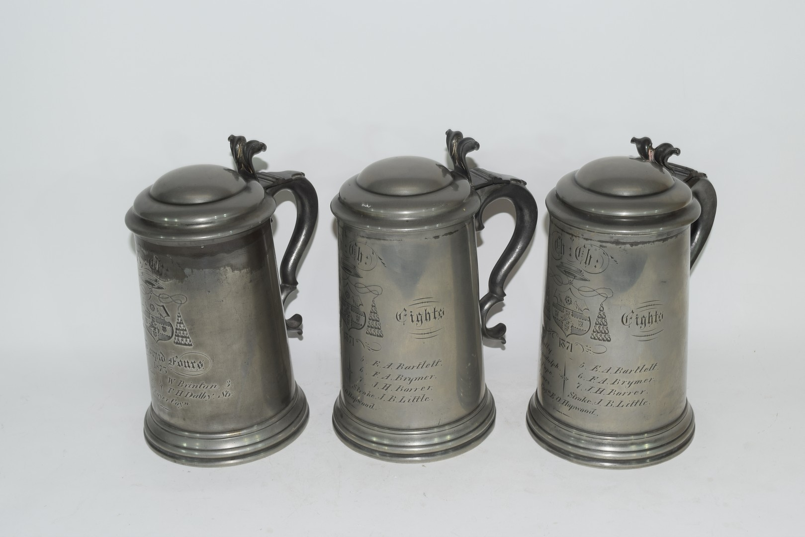 Three pewter tankards from Christchurch College, Oxford