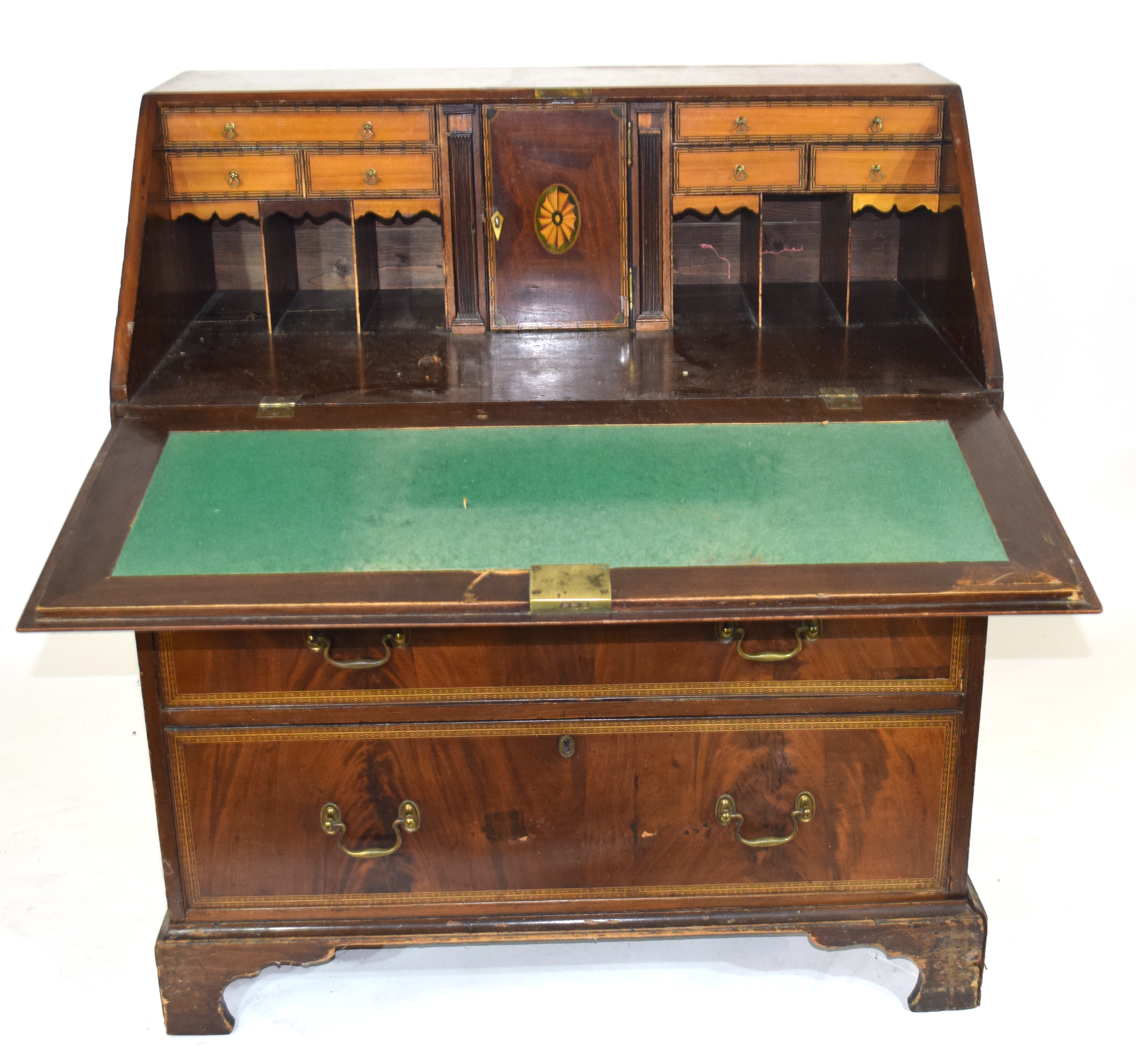 19th century fall front bureau with inlaid decoration throughout, raised on bracket feet with fitted - Image 2 of 5