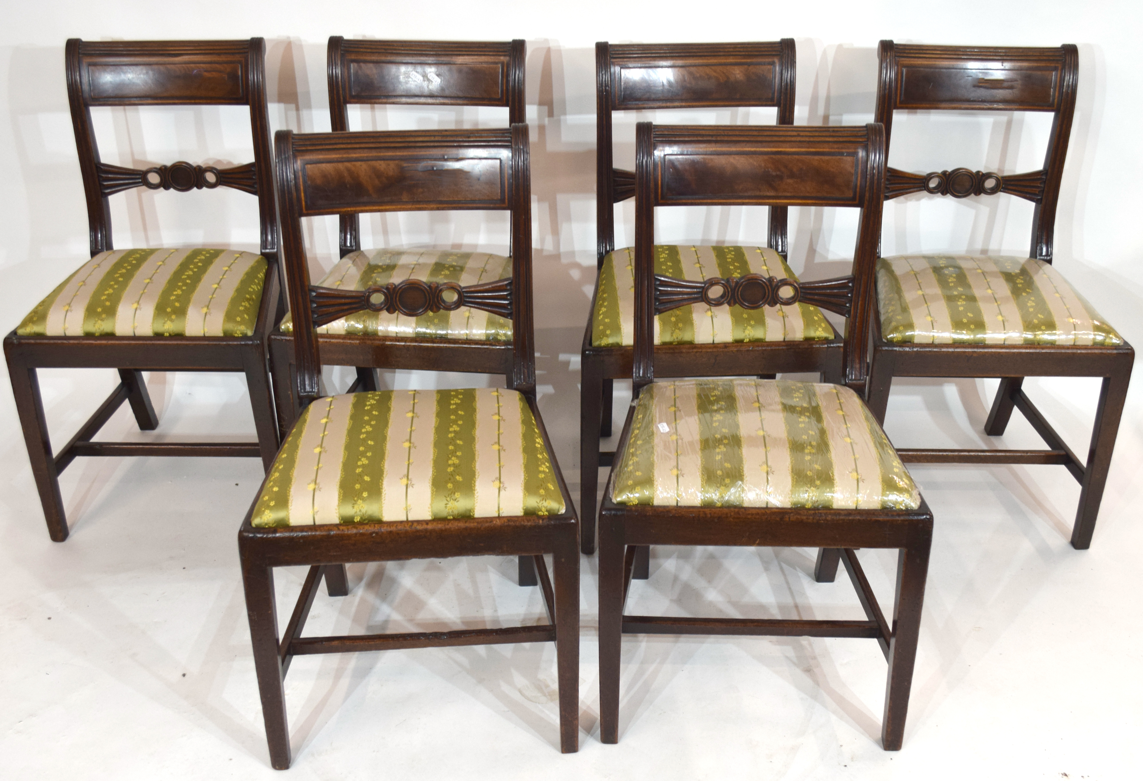 Set of six 19th century mahogany bar back dining chairs with striped upholstered seats, tapering - Image 2 of 2