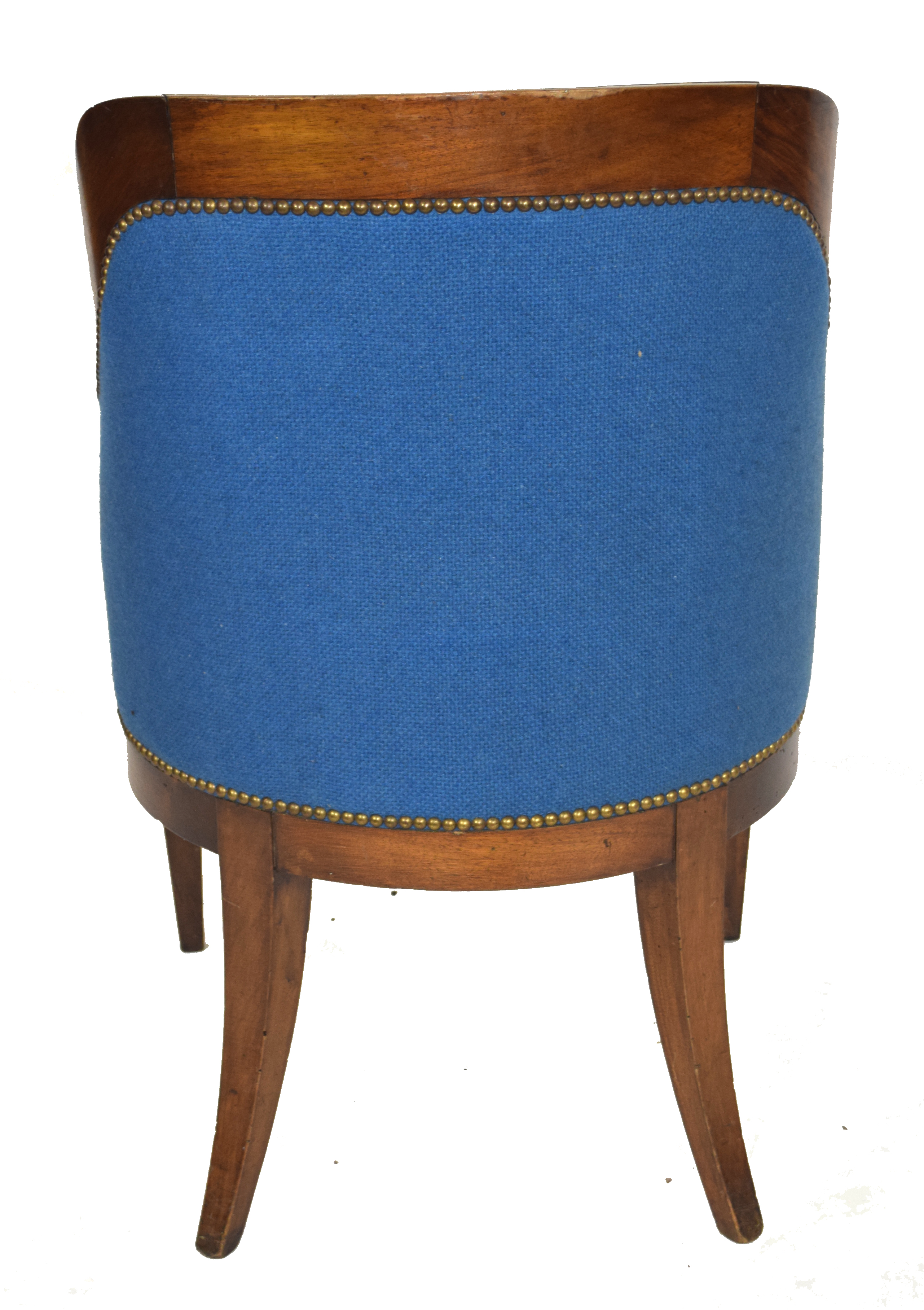 Late 19th/early 20th century mahogany framed tub chair with blue upholstery, 58cm wide Condition: - Image 4 of 5