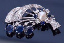 Diamond, Sapphire and Pearl spray brooch