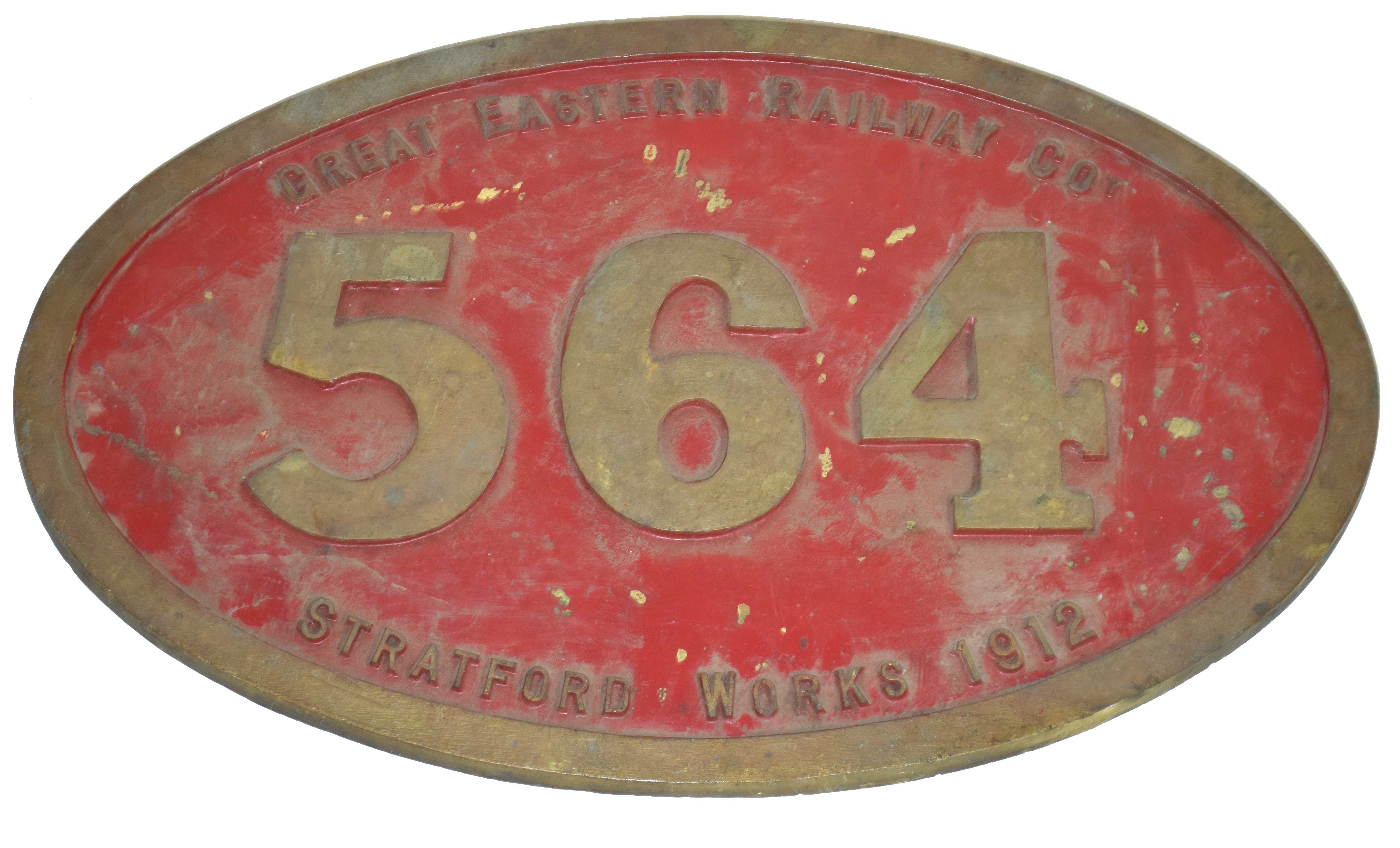 Railway interest engine plaque for Great Eastern Railway Co, Stratford Works 1912, No 564 bronze - Image 2 of 2