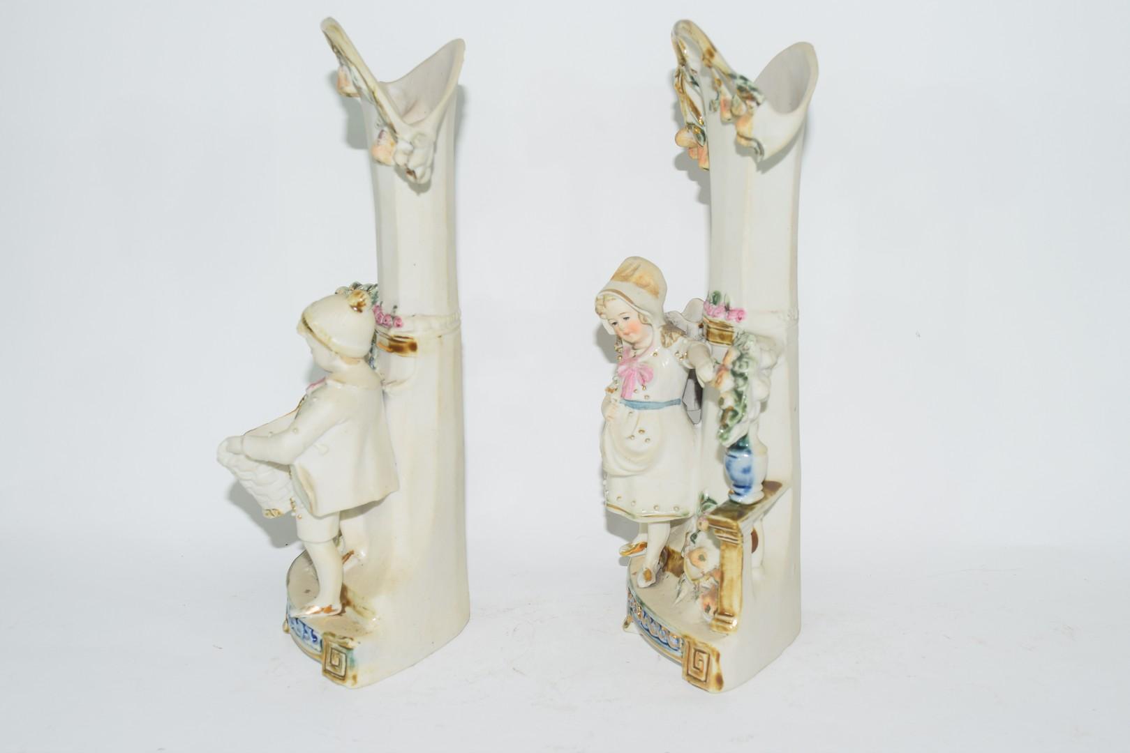 Pair of bisque porcelain spill holder vases - Image 2 of 4