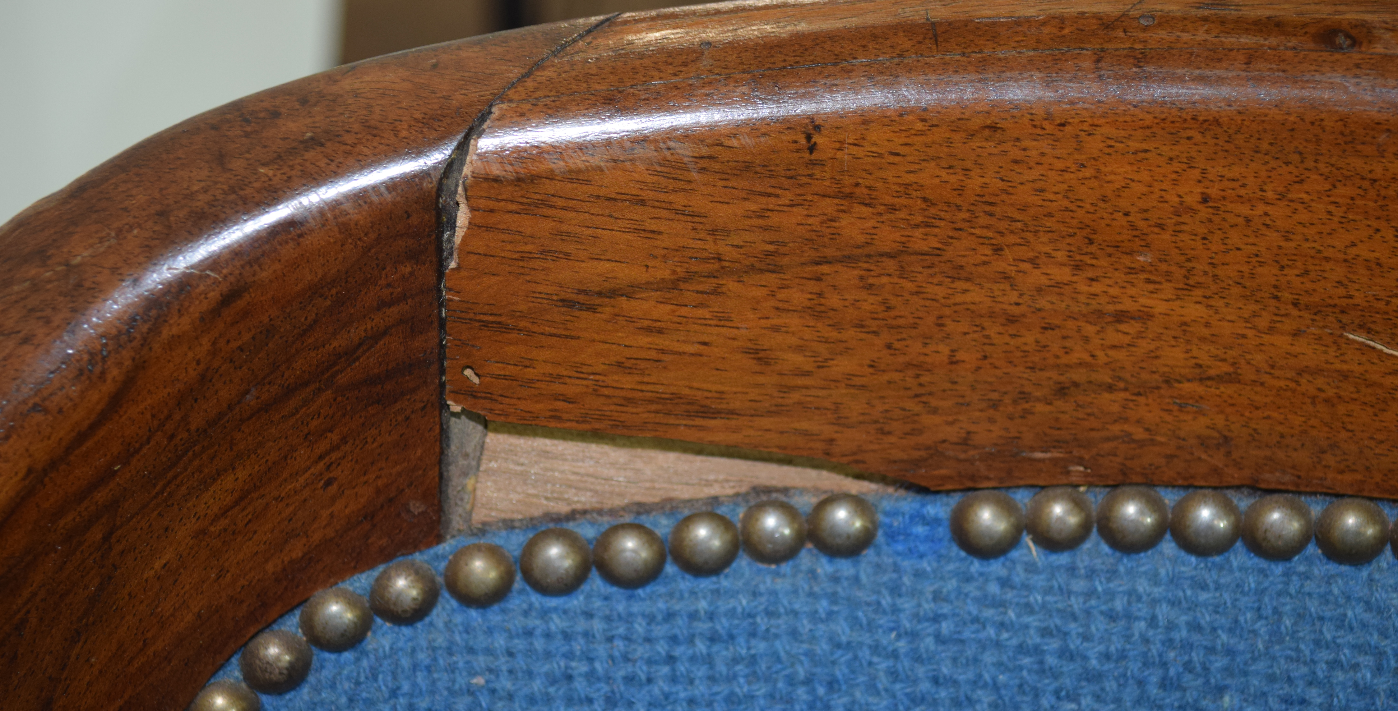 Late 19th/early 20th century mahogany framed tub chair with blue upholstery, 58cm wide Condition: - Image 3 of 5