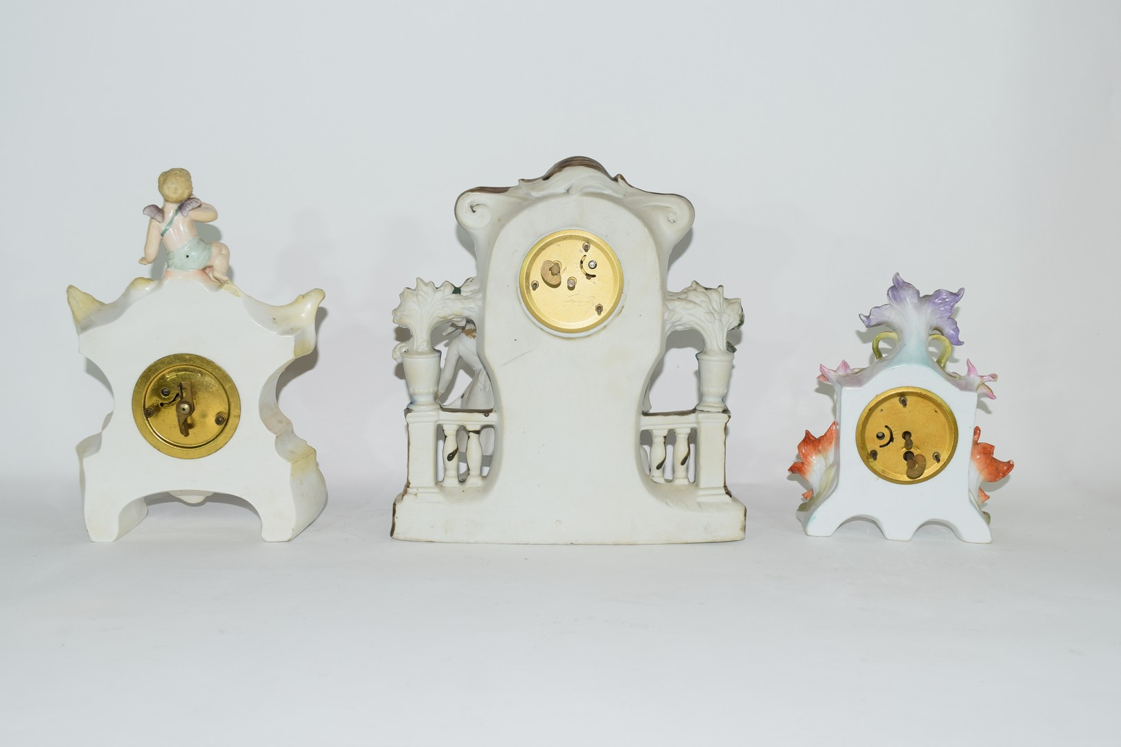 Three examples of Continental porcelain clock mantel cases - Image 6 of 9