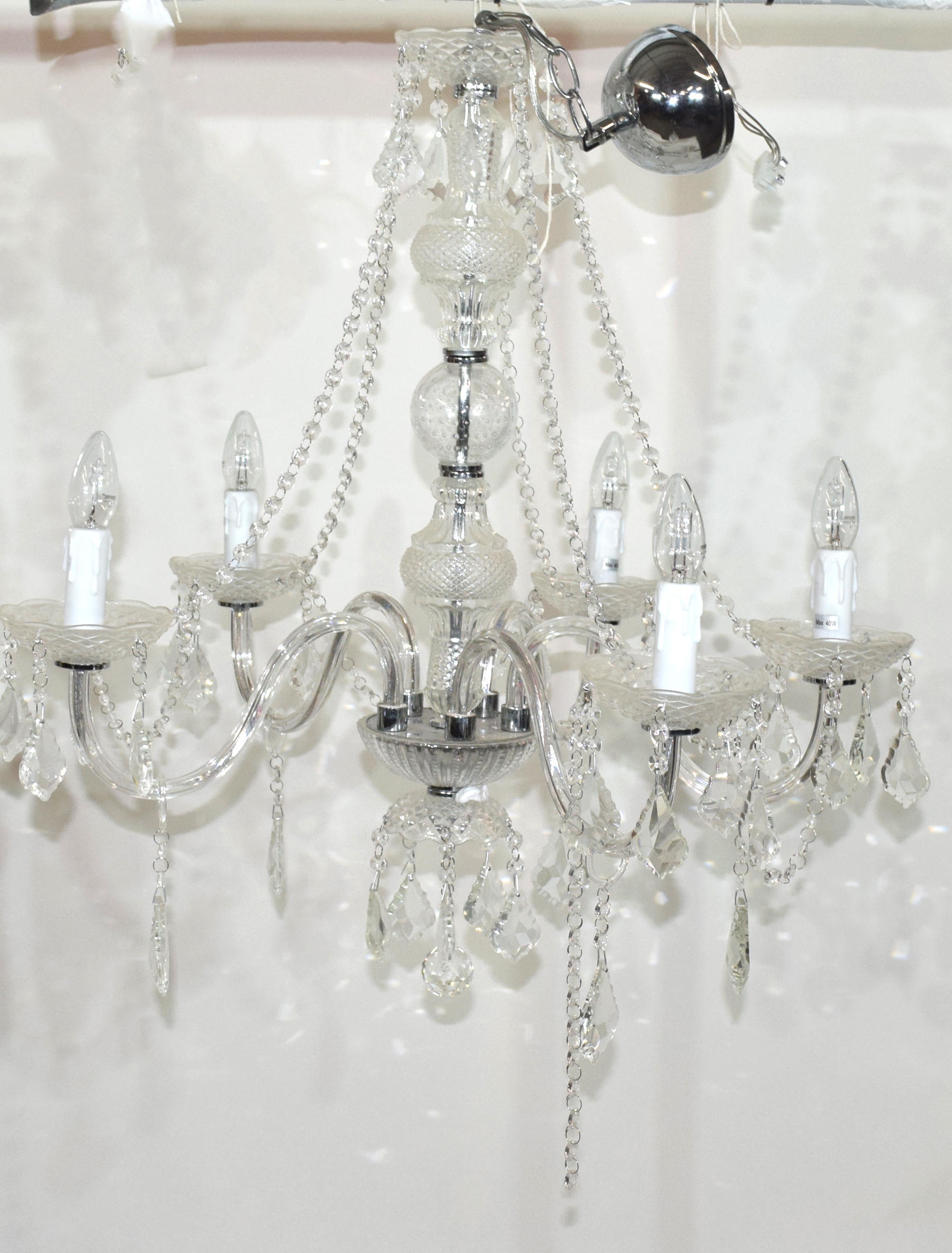 Contemporary five-light chandelier set with clear prismatic glass drops, approx 75cm high Condition: