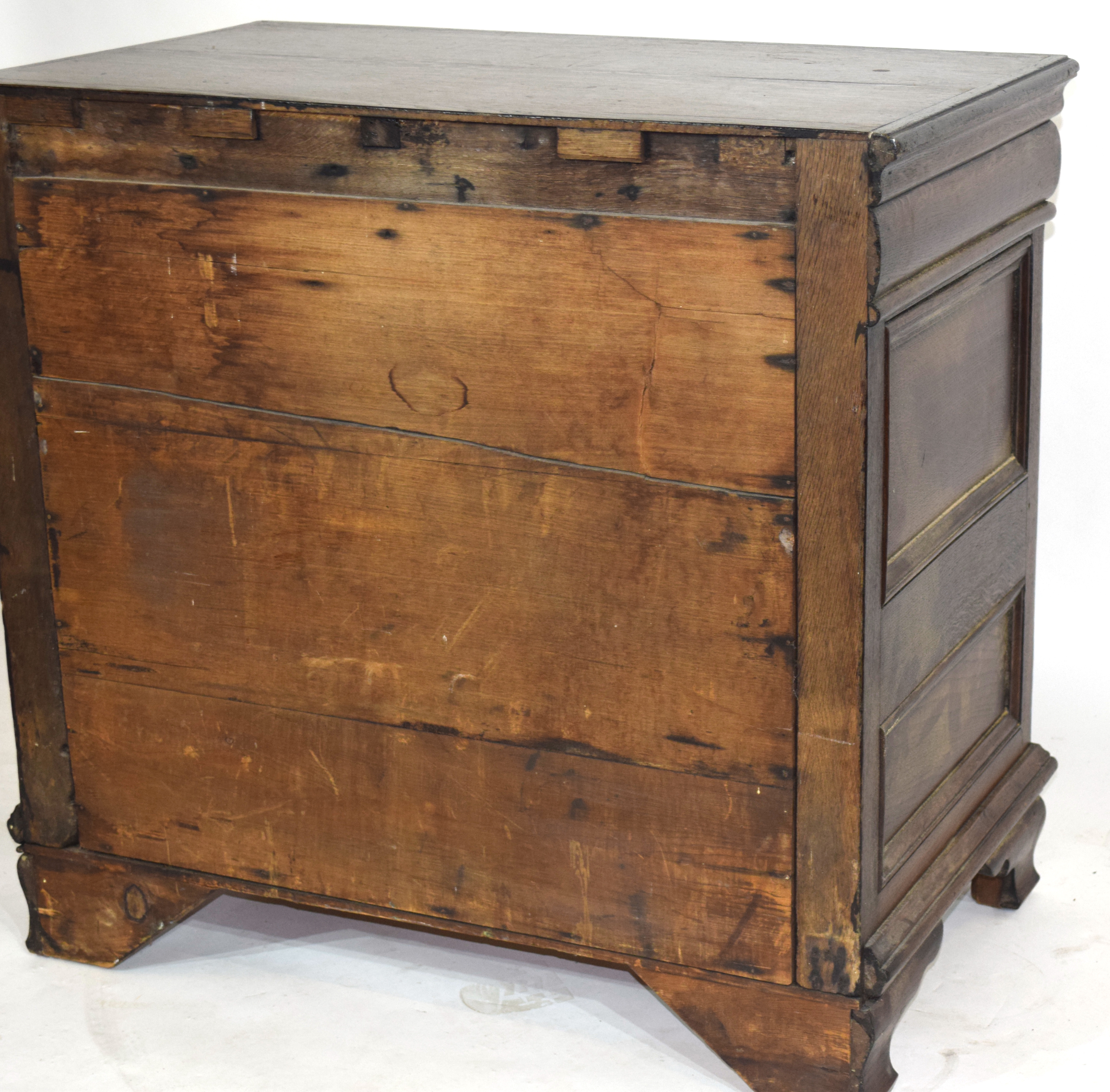 17th century and later oak chest of four drawers, decorated with mitred detail and set with panelled - Image 4 of 4