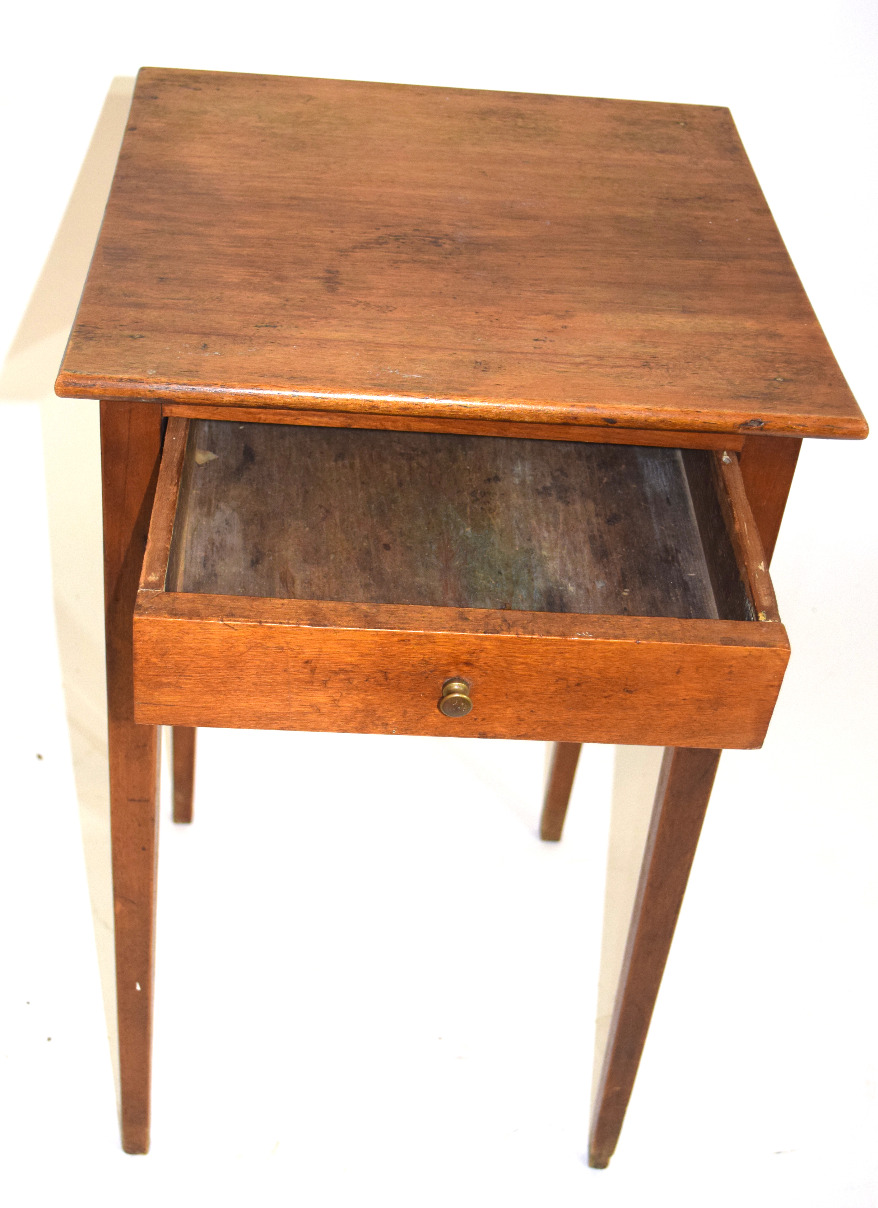 Small square stained table with drawer 70cm in height Condition: Structurally sound but requires - Image 2 of 4