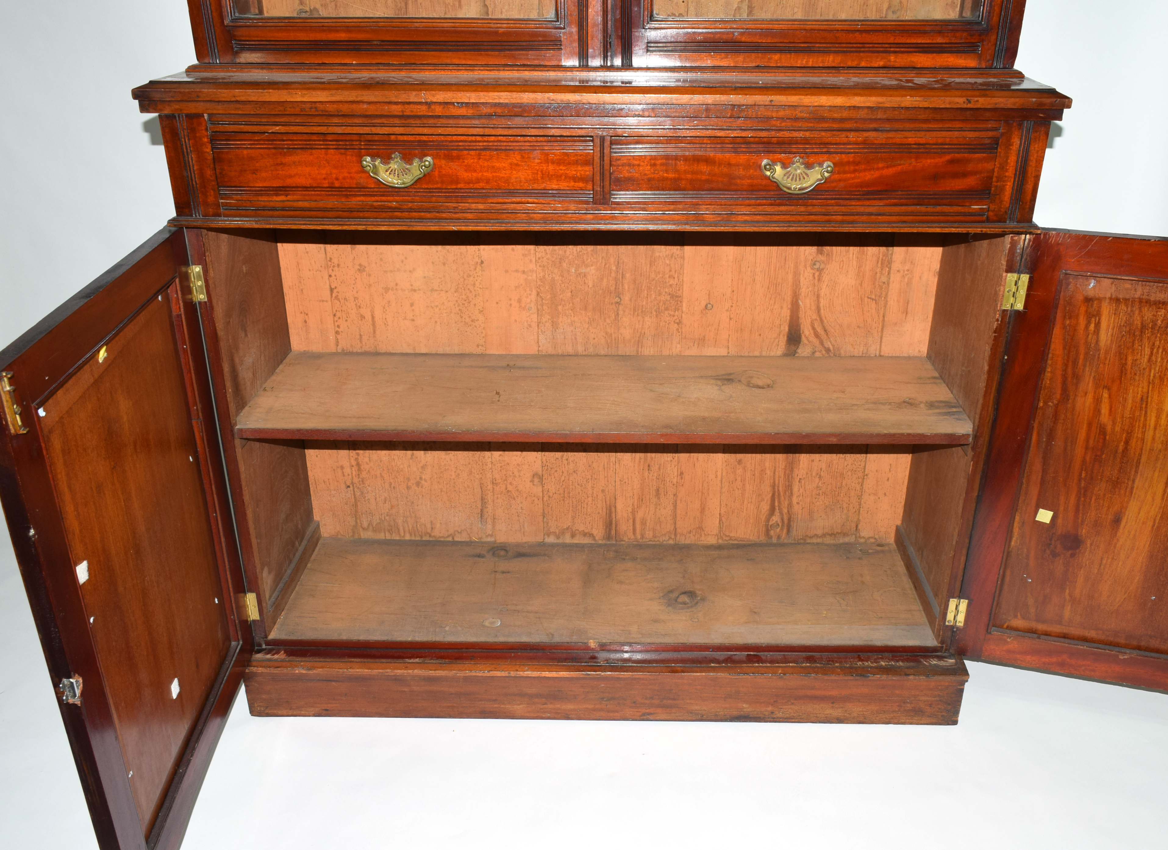 Full height mahogany side cabinet with glazed bookcase raised over double cupboard, width approx - Image 4 of 6