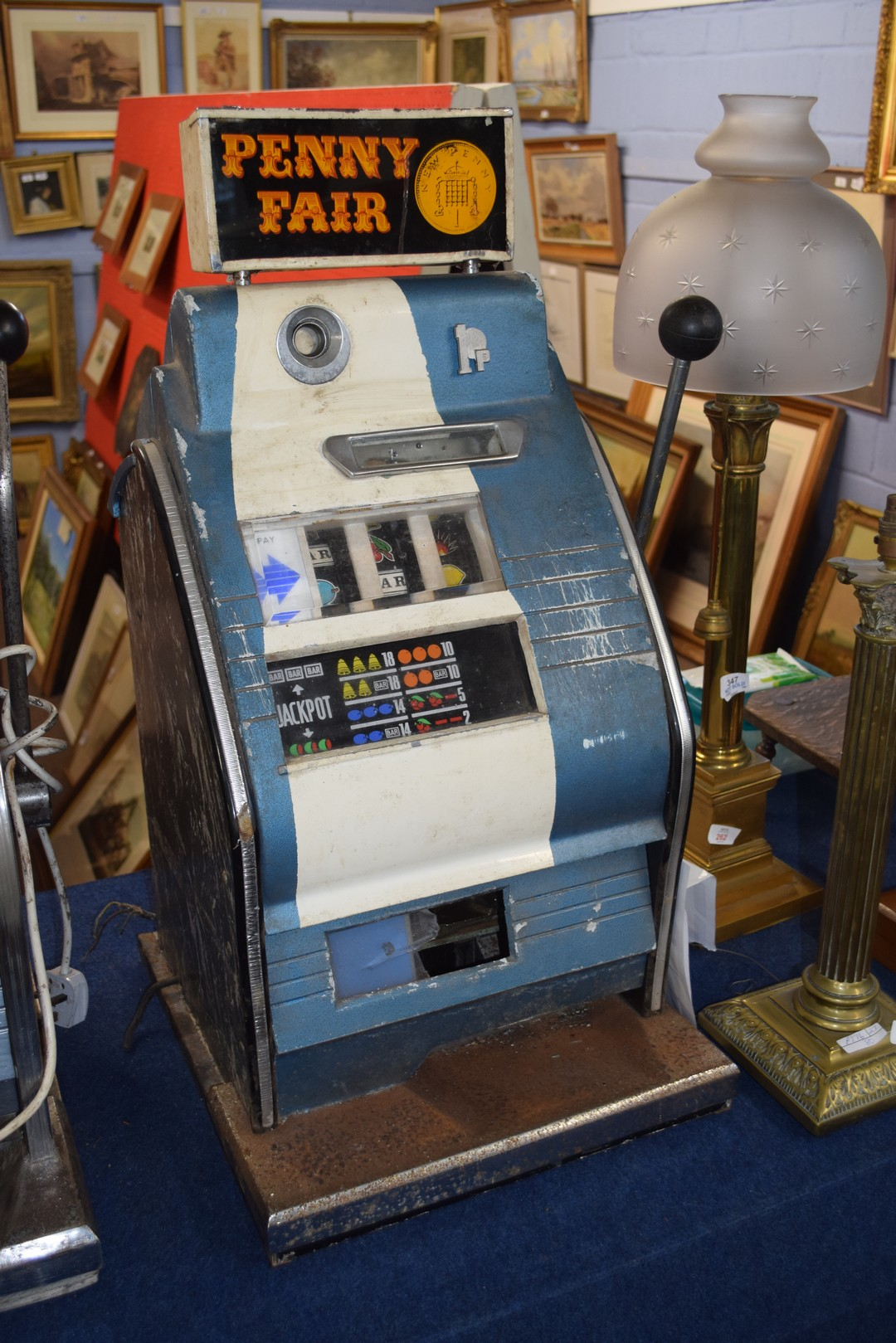 Vintage penny fair one armed bandit fruit machine, 79cm high Condition: