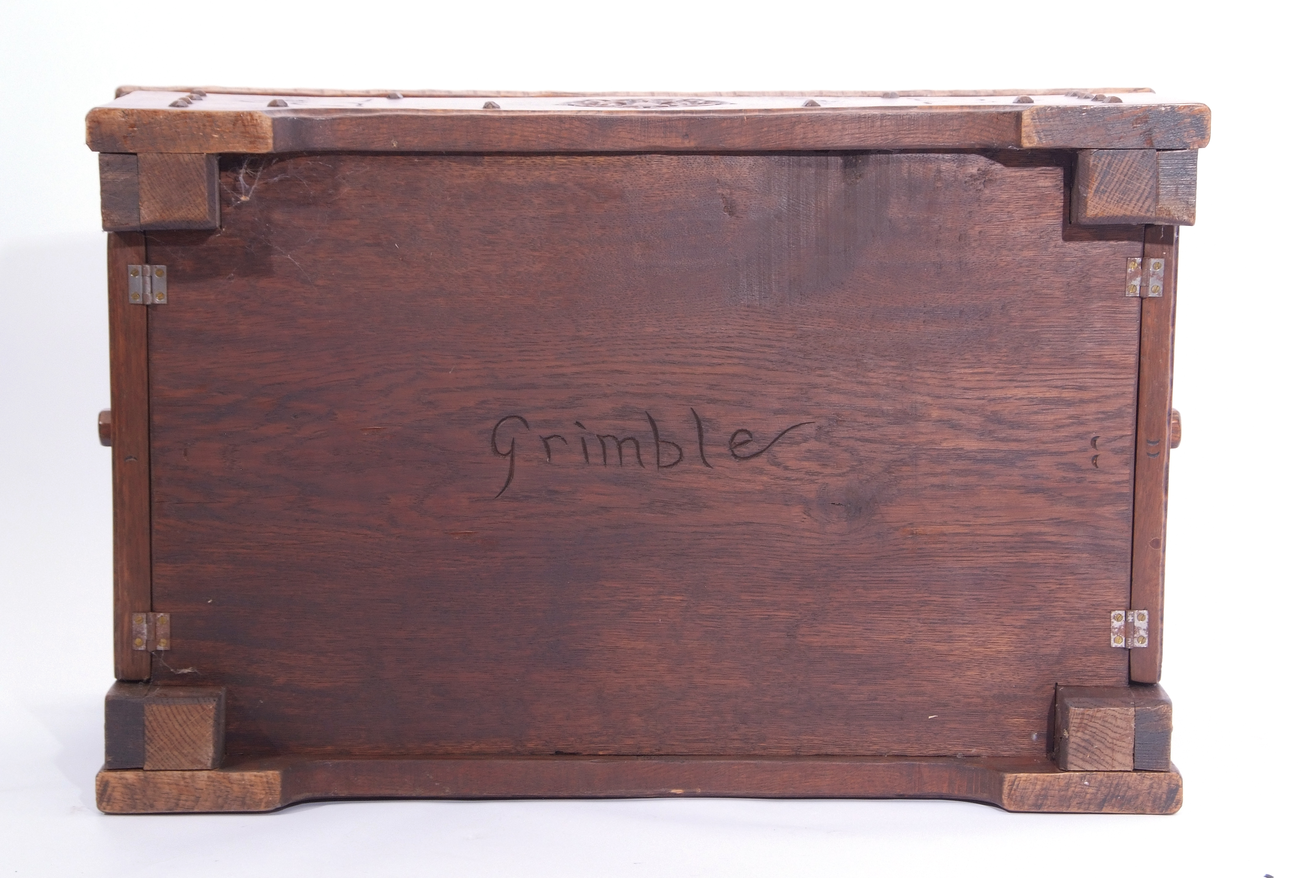 Jack Grimble of Cromer Oak coffee table with drop down storage end, carved with Tudor Rose detail - Image 9 of 9