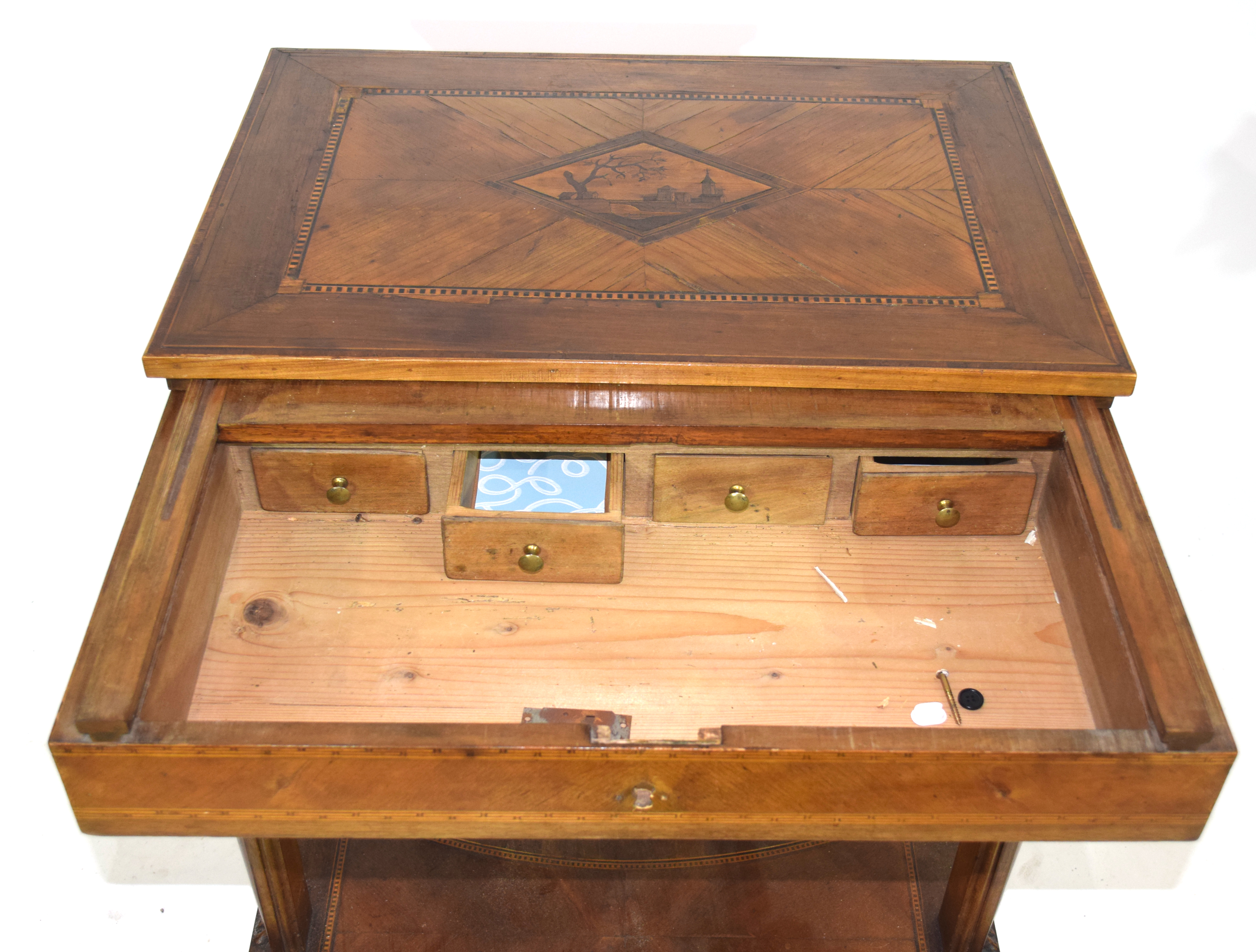 19th century Continental metamorphic desk or work table, the inlaid sliding top opening to reveal - Image 4 of 4