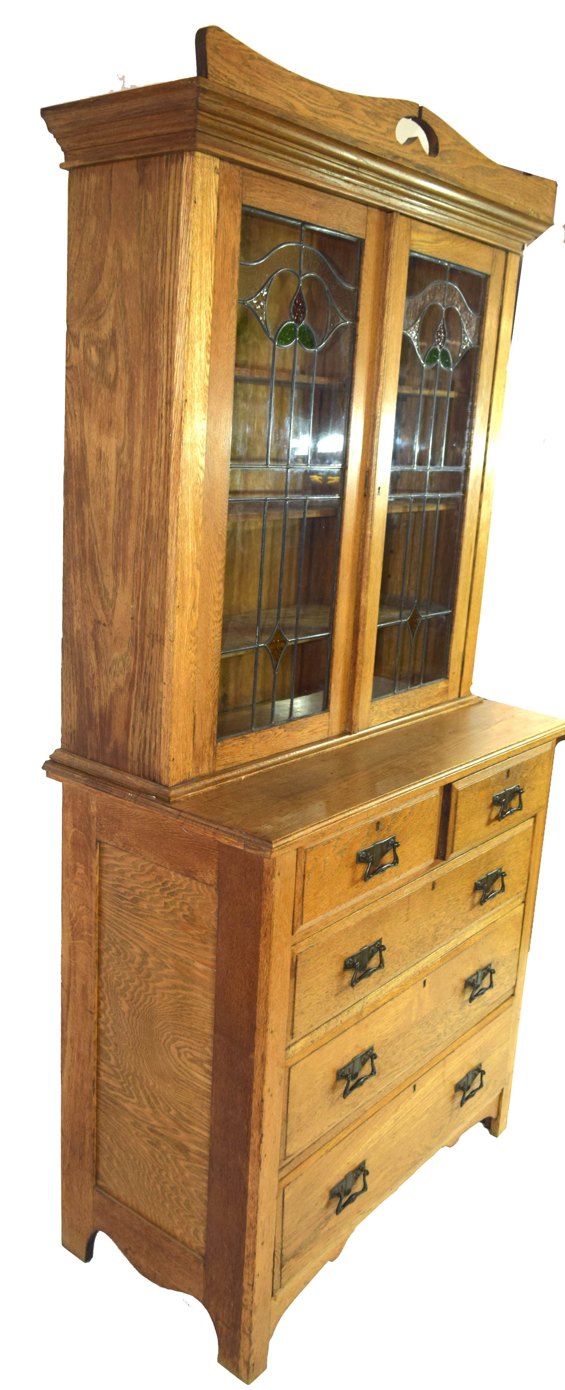 Late 19th century light oak two-piece cabinet, the top section with double glazed doors with Art - Image 6 of 7