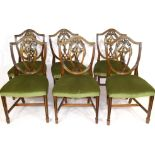 Set of six reproduction shield back dining chairs