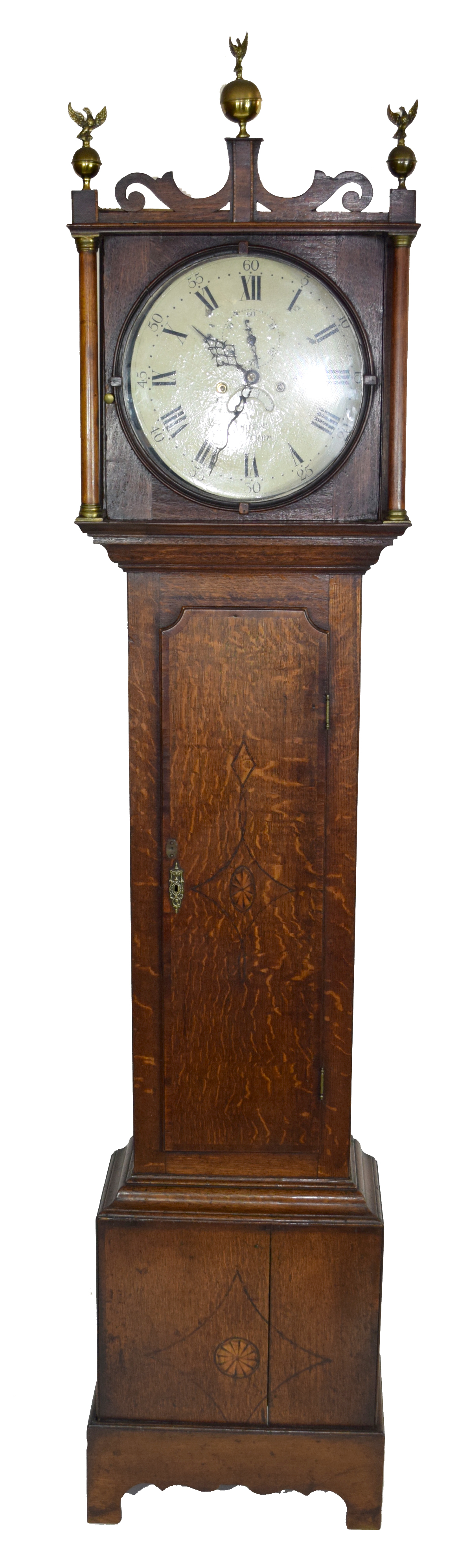 Deacon, Leicester, George III longcase clock with circular face with Roman and Arabic numerals and