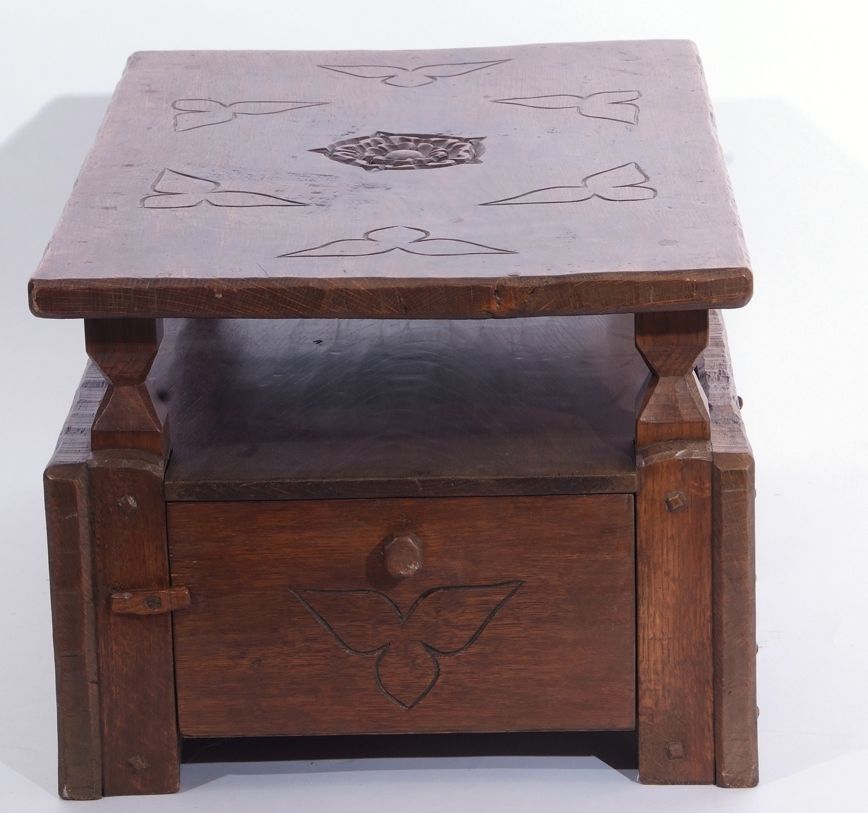 Jack Grimble of Cromer Oak coffee table with drop down storage end, carved with Tudor Rose detail - Image 8 of 9