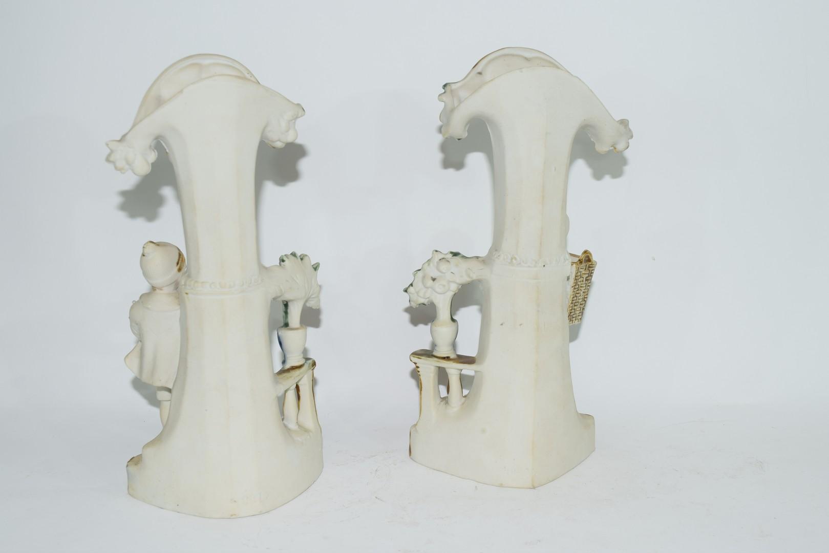 Pair of bisque porcelain spill holder vases - Image 3 of 4