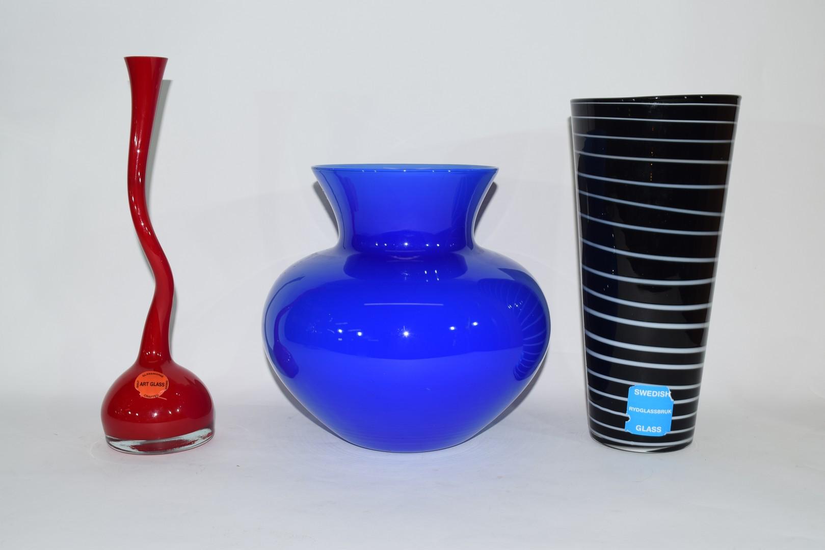 Three Swedish Art glass vases