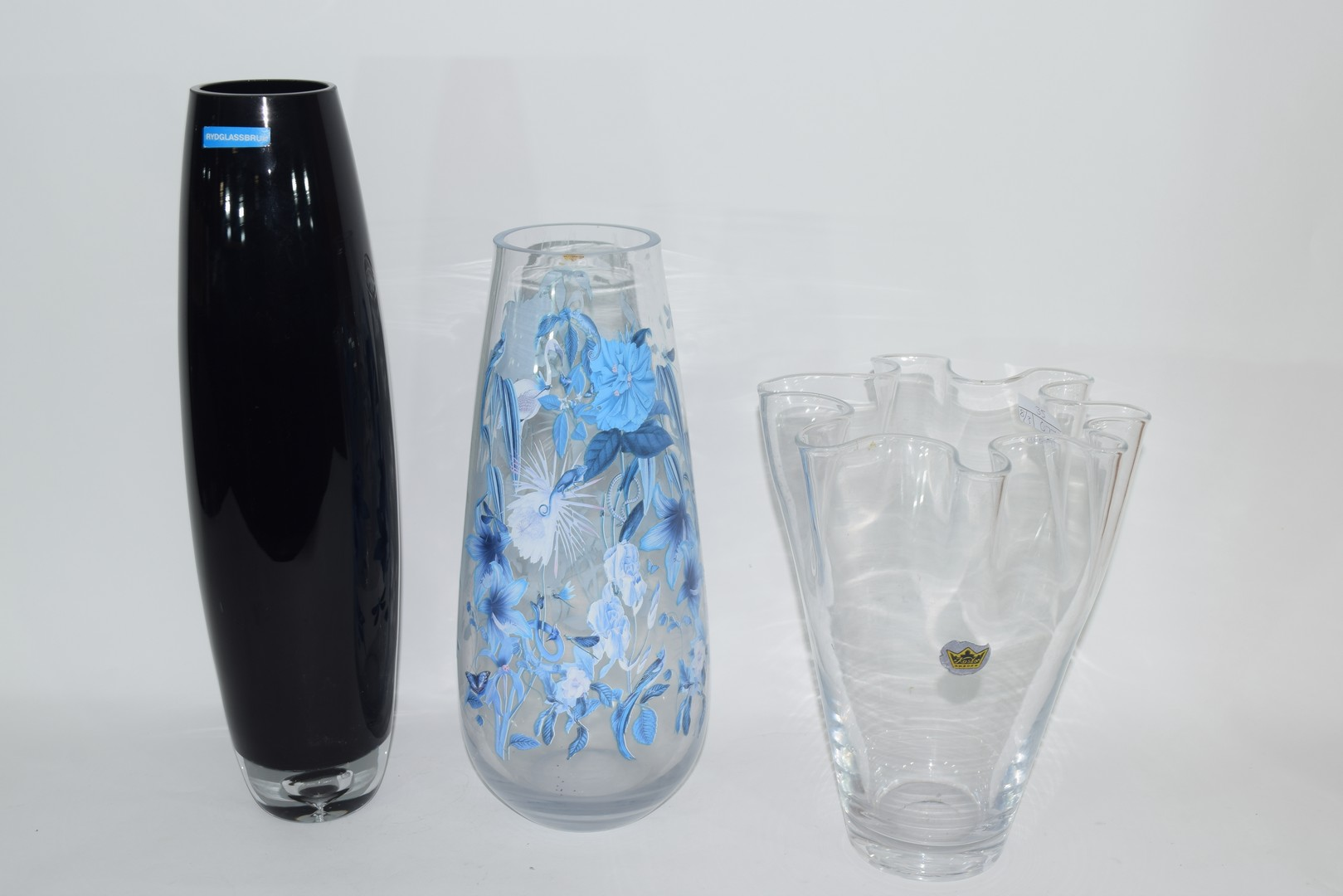 Three Swedish Art glass vases with various labels