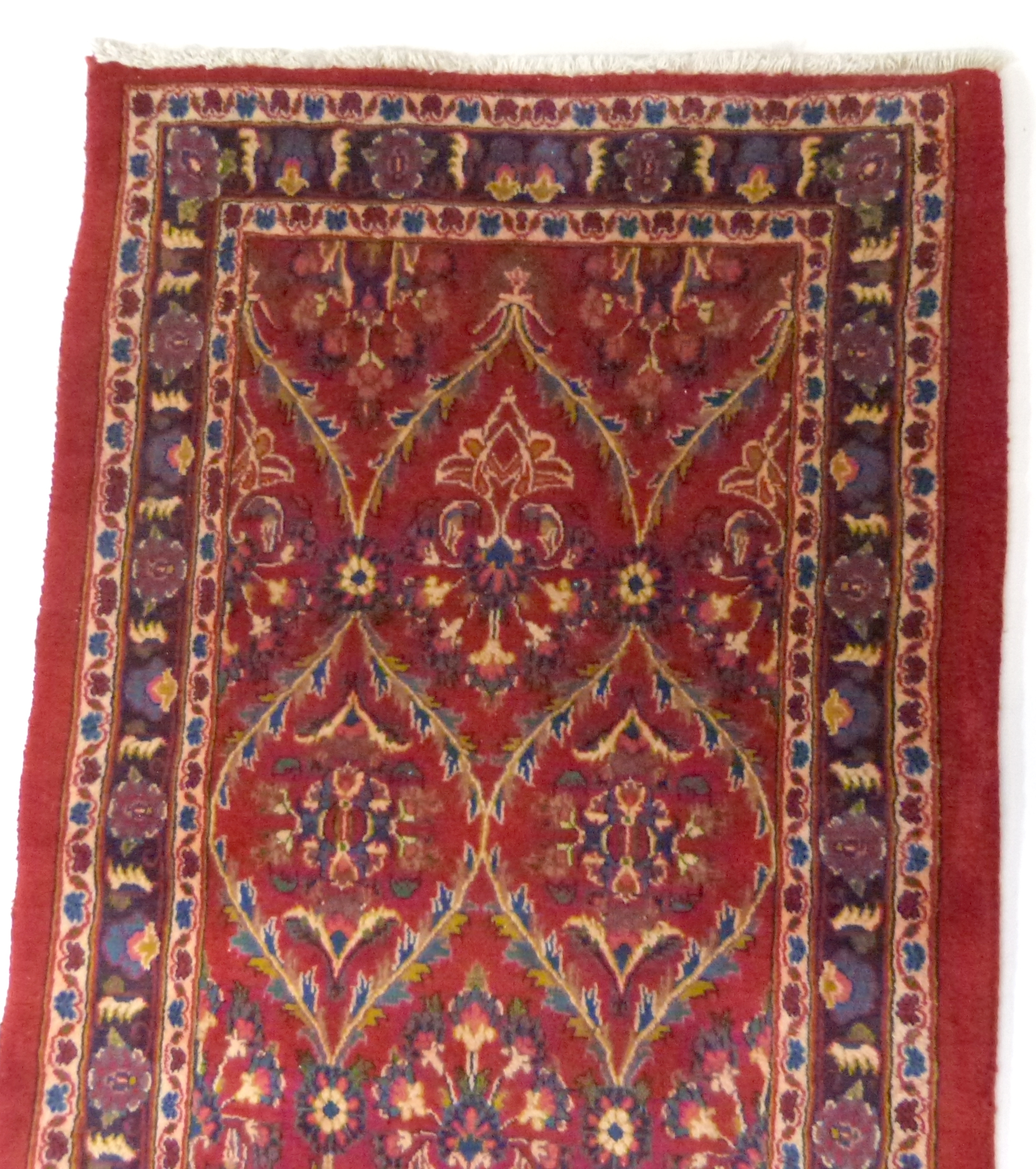Large red ground Persian Kashan Runner, with all-over floral pattern 397cm x 93cm approximately No - Image 4 of 6