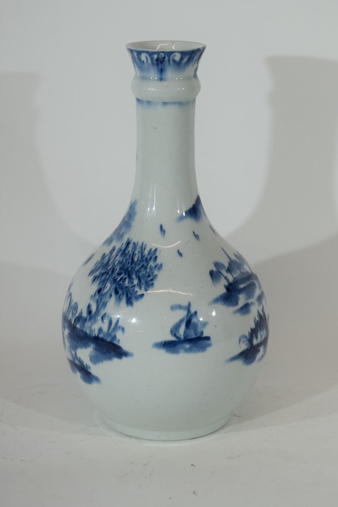 Lowestoft porcelain guglet or water bottle - Image 3 of 7