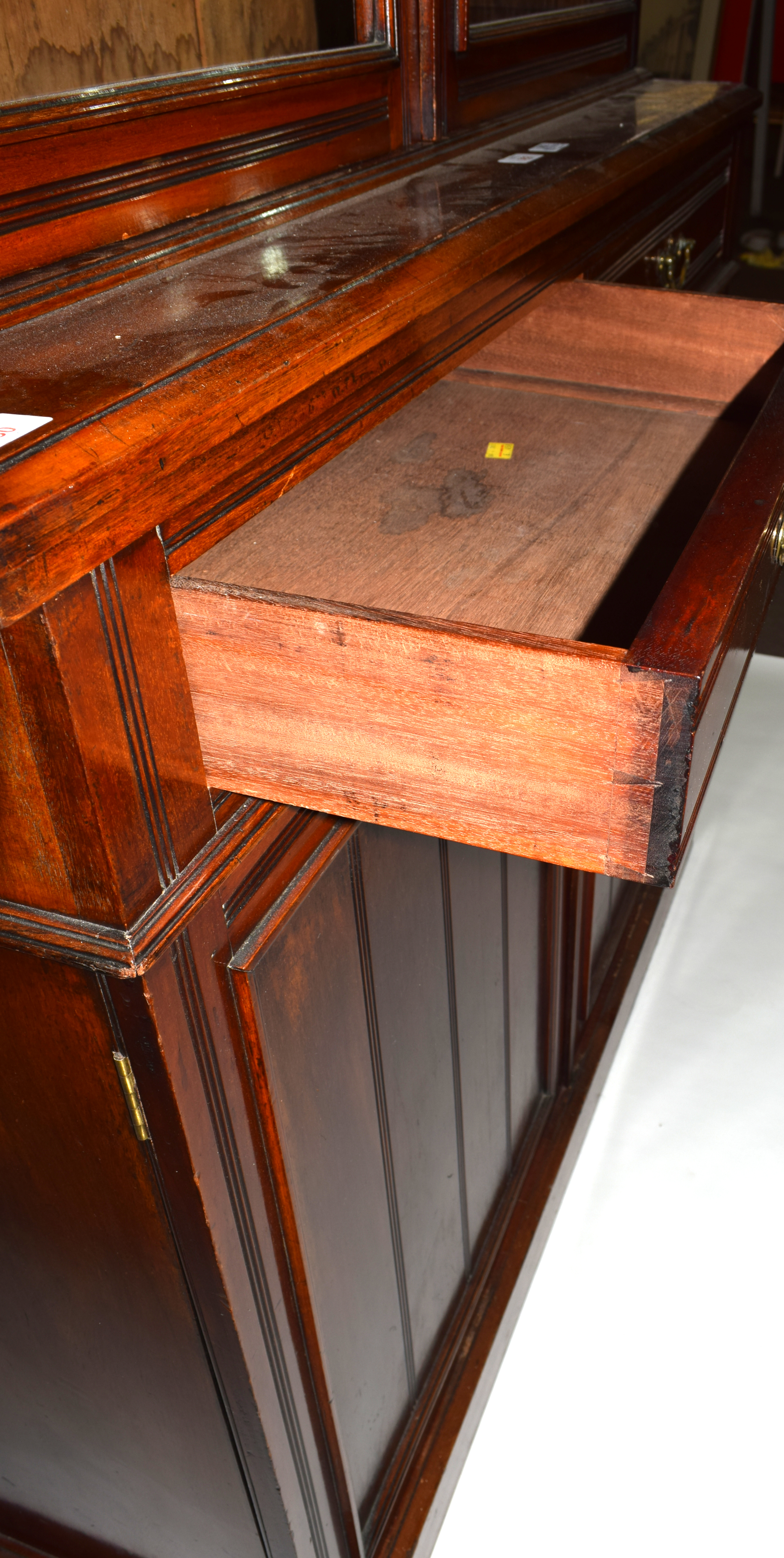 Full height mahogany side cabinet with glazed bookcase raised over double cupboard, width approx - Image 3 of 6